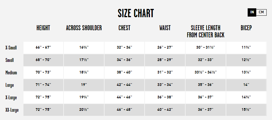 Men's Volcom Jacket Size Chart