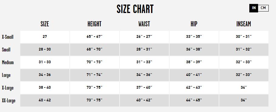 Men's Volcom Pant Size Chart