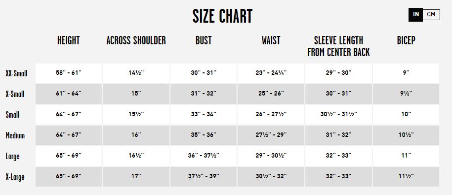 Women's Volcom Jacket Size Chart