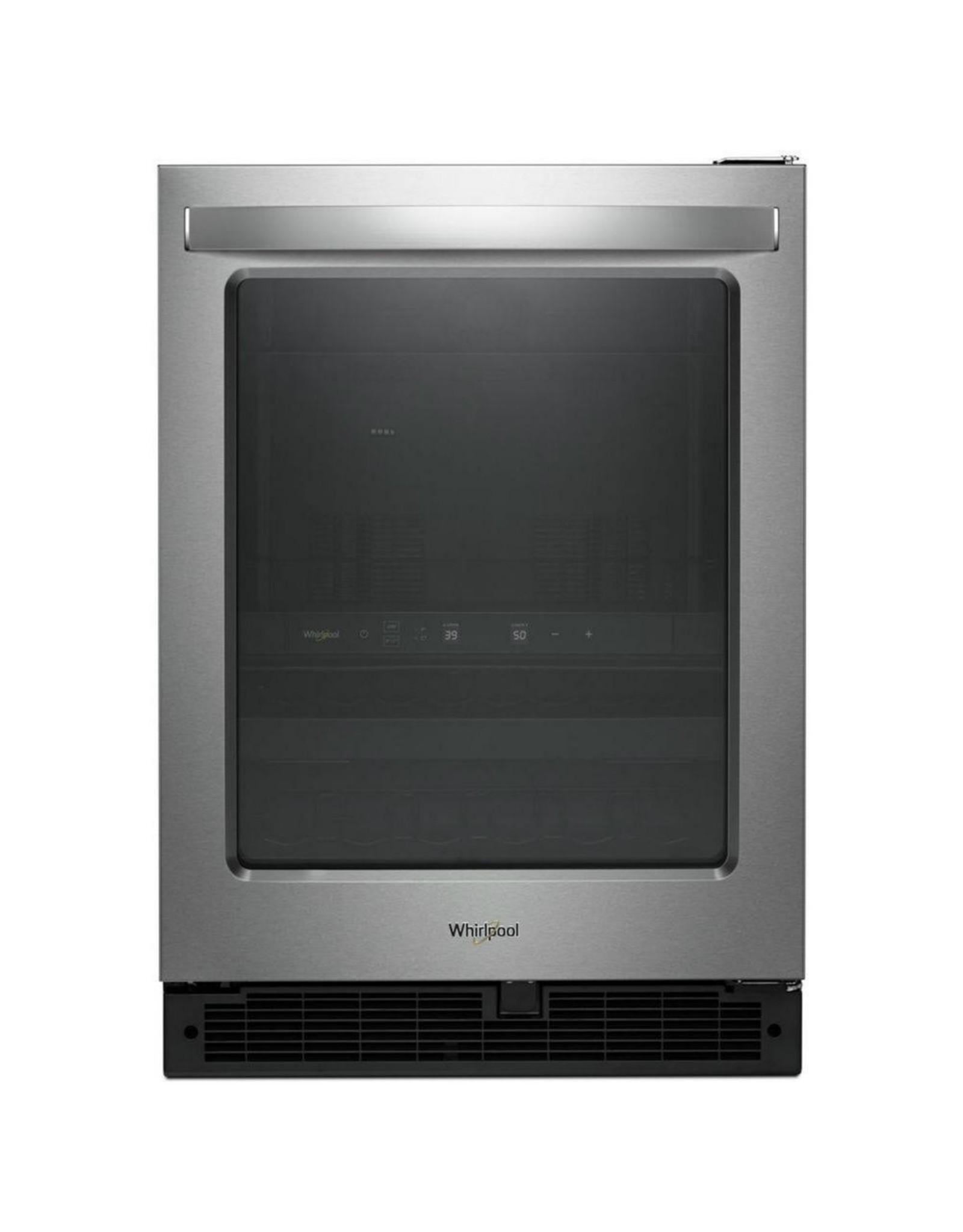 "WUB50X24HZ WHR Licensed Free Standing Refrigerator - 24"" BEV CENTER, GLASS DOOR, FINGER PRINT"