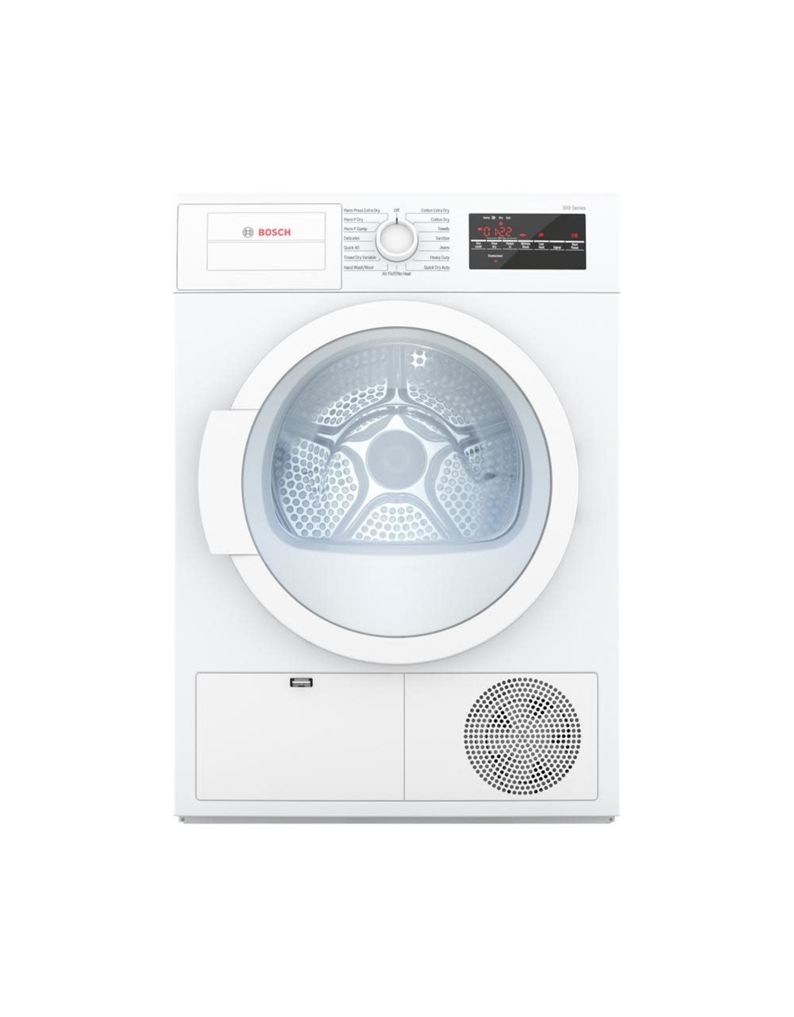 BOSCH WTG86400UC 300 Series 24 in. 4 cu. ft. 240-Volt White Electric Ventless Compact Dryer