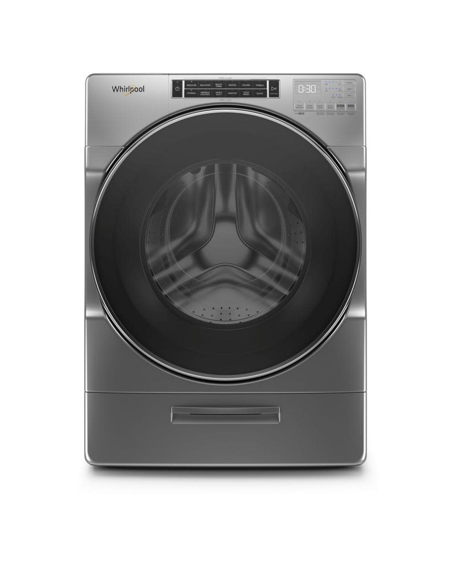 WHIRLPOOL WFW8620HC 5.0 cu. ft. High Efficiency Chrome Shadow Front Load Washing Machine with Load & Go XL Dispenser, ENERGY STAR