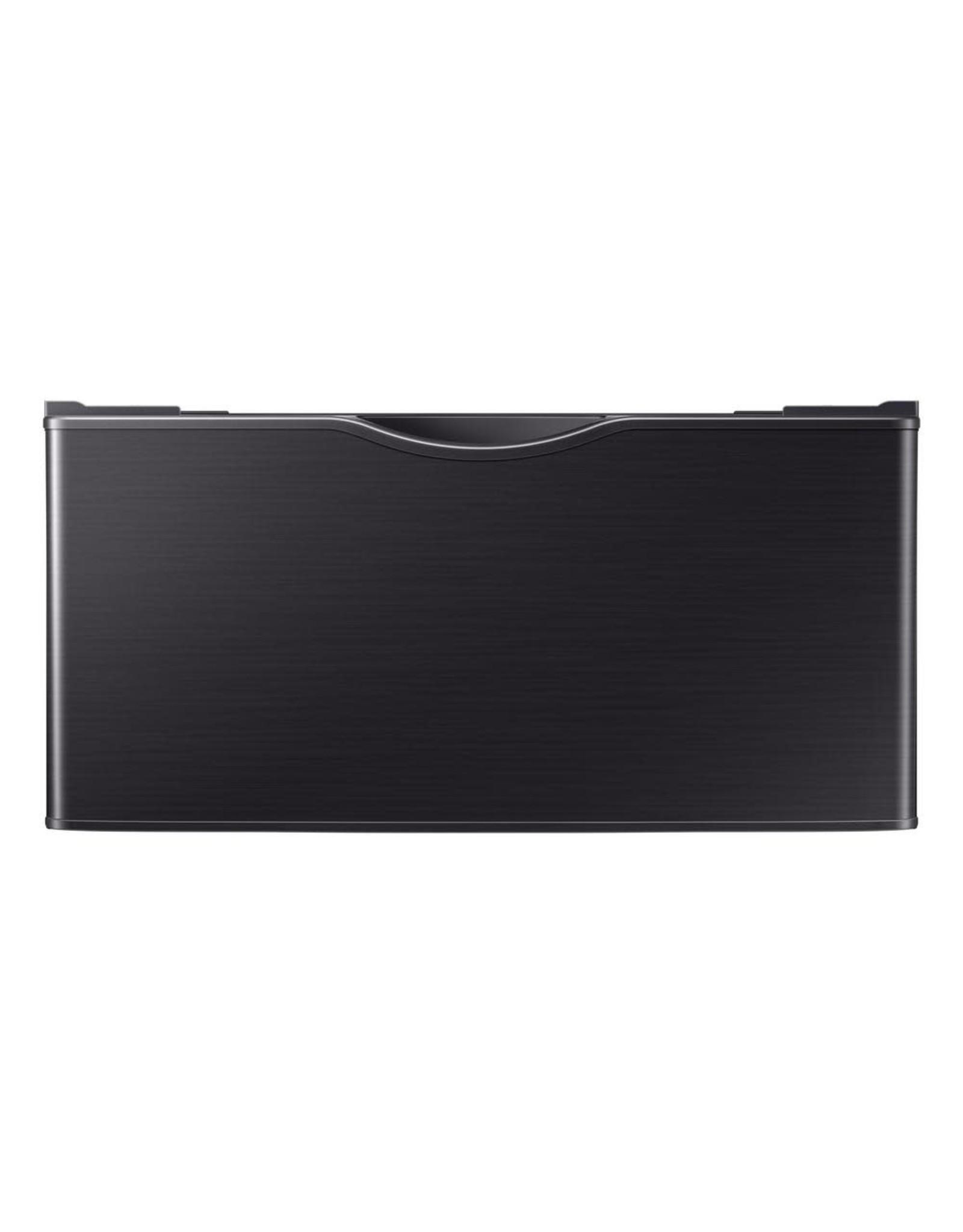 SAMSUNG WE402NV Samsung 14.2 in. Fingerprint-Resistant Black Stainless Laundry Pedestal with Storage Drawer