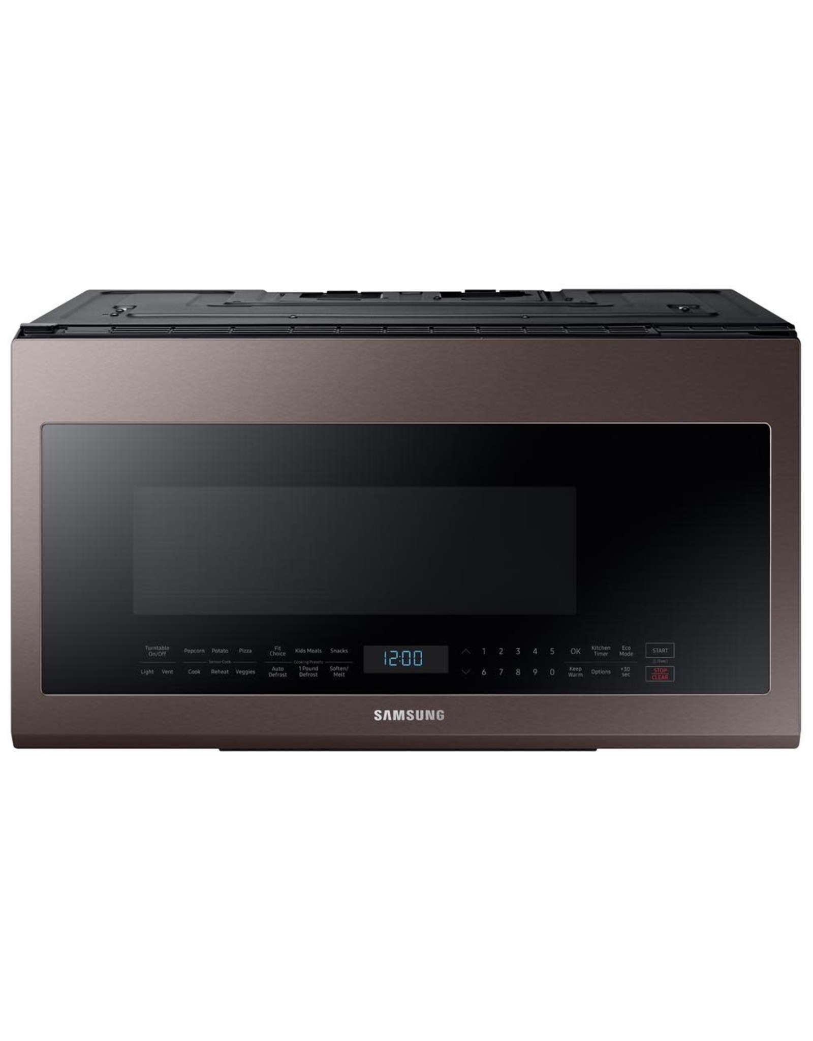 SAMSUNG ME21R706BAT Samsung 30 in. W 2.1 cu. ft. Over the Range Microwave in Fingerprint Resistant Tuscan Stainless Steel with Sensor Cooking