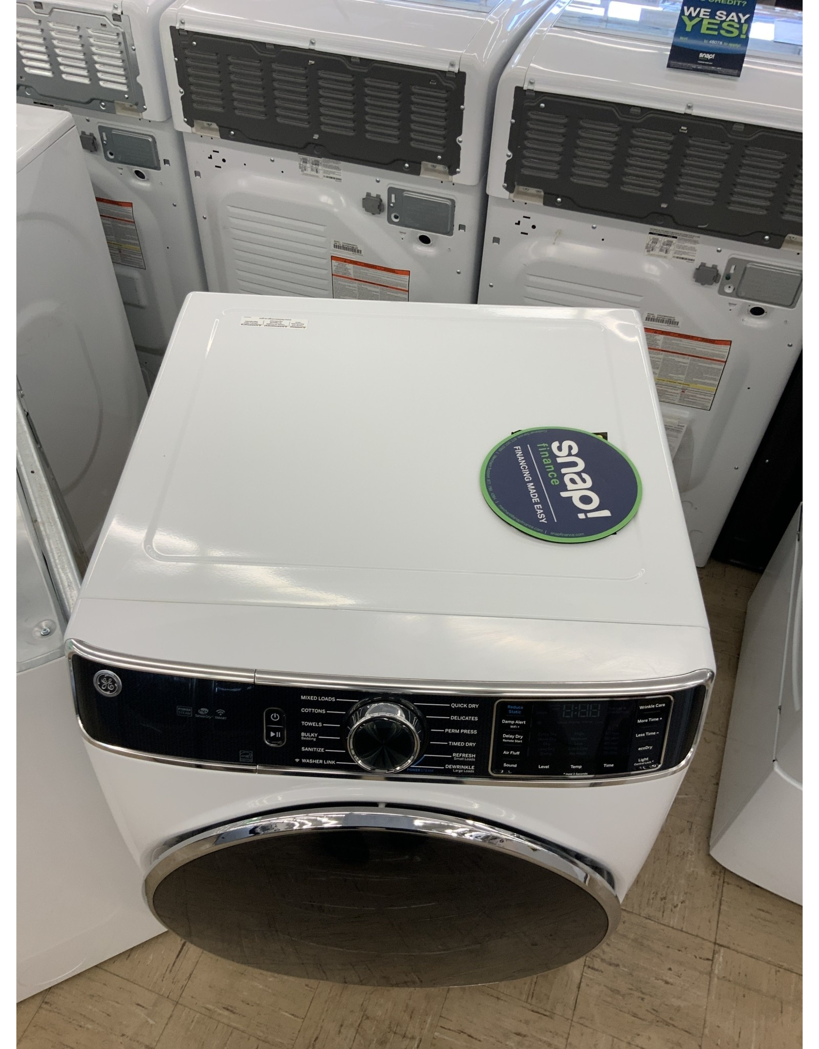 GE GFD85ESSNWW GE 7.8 cu. ft. Smart 240-Volt White Stackable Electric Vented Dryer with Steam and Sanitize Cycle, ENERGY STAR