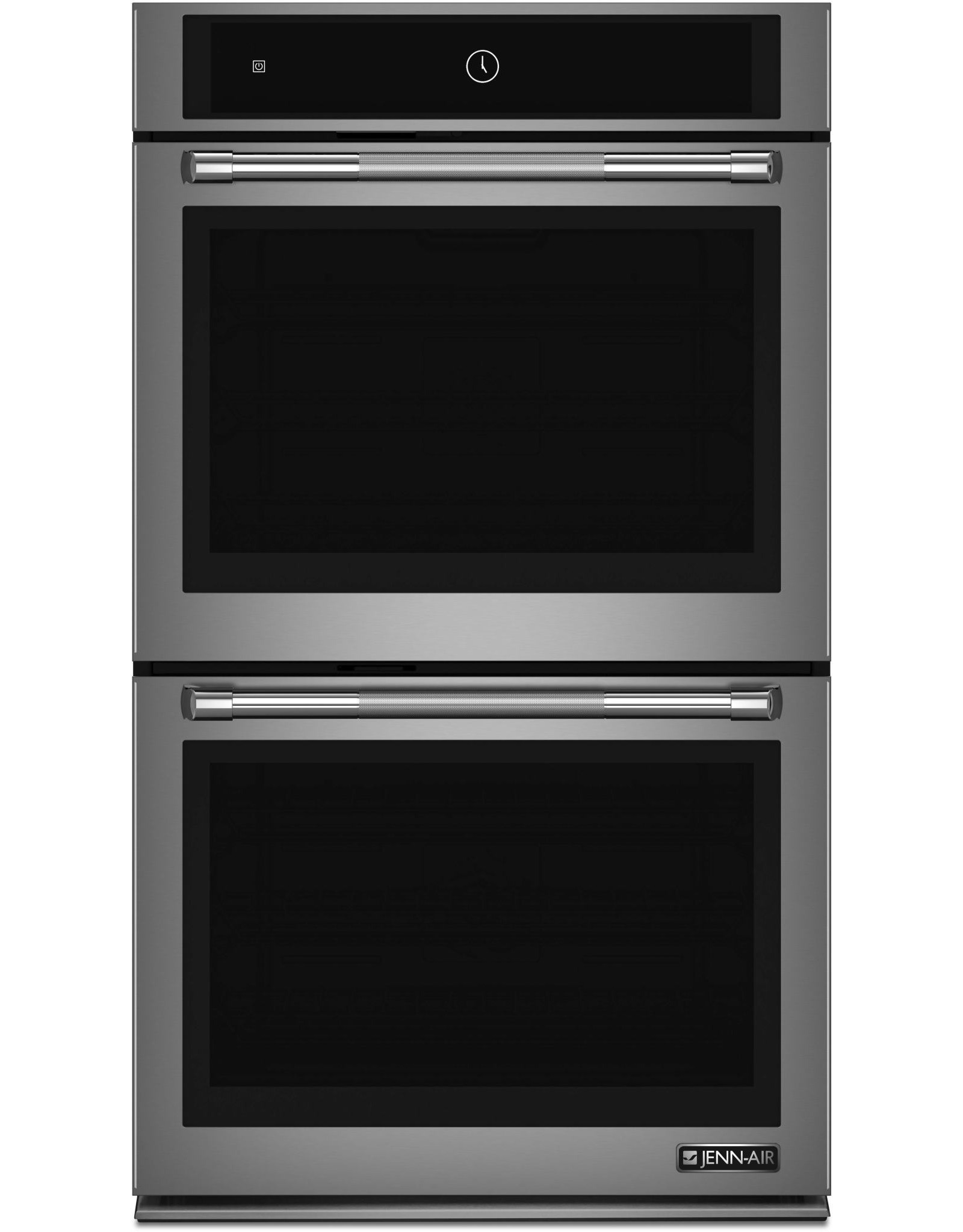JENN-AIR JJW2830DP 30 Inch Electric Double Wall Oven with  ® n System, 4.3 Inch Full-Color LCD Display, Telescoping Glide Rack, Rapid Preheat, Common Cutout, My Creations, 10 Cubic Foot Total Capacity, Halogen Lighting, Extra-Large Oven Window, and Temperat
