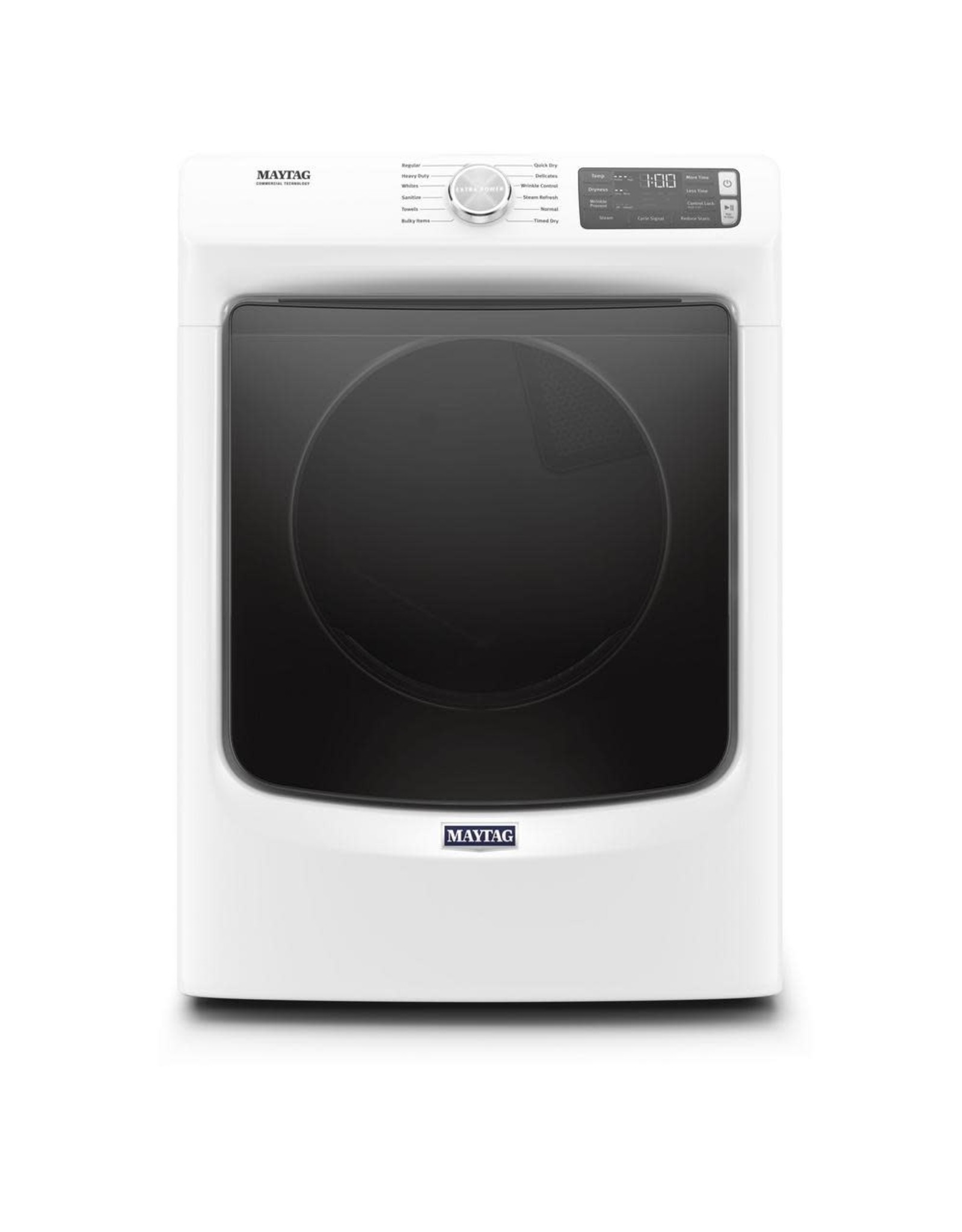 MAYTAG MED6630HW 7.3 cu. ft. 240-Volt White Stackable Electric Vented Dryer with Steam, ENERGY STAR