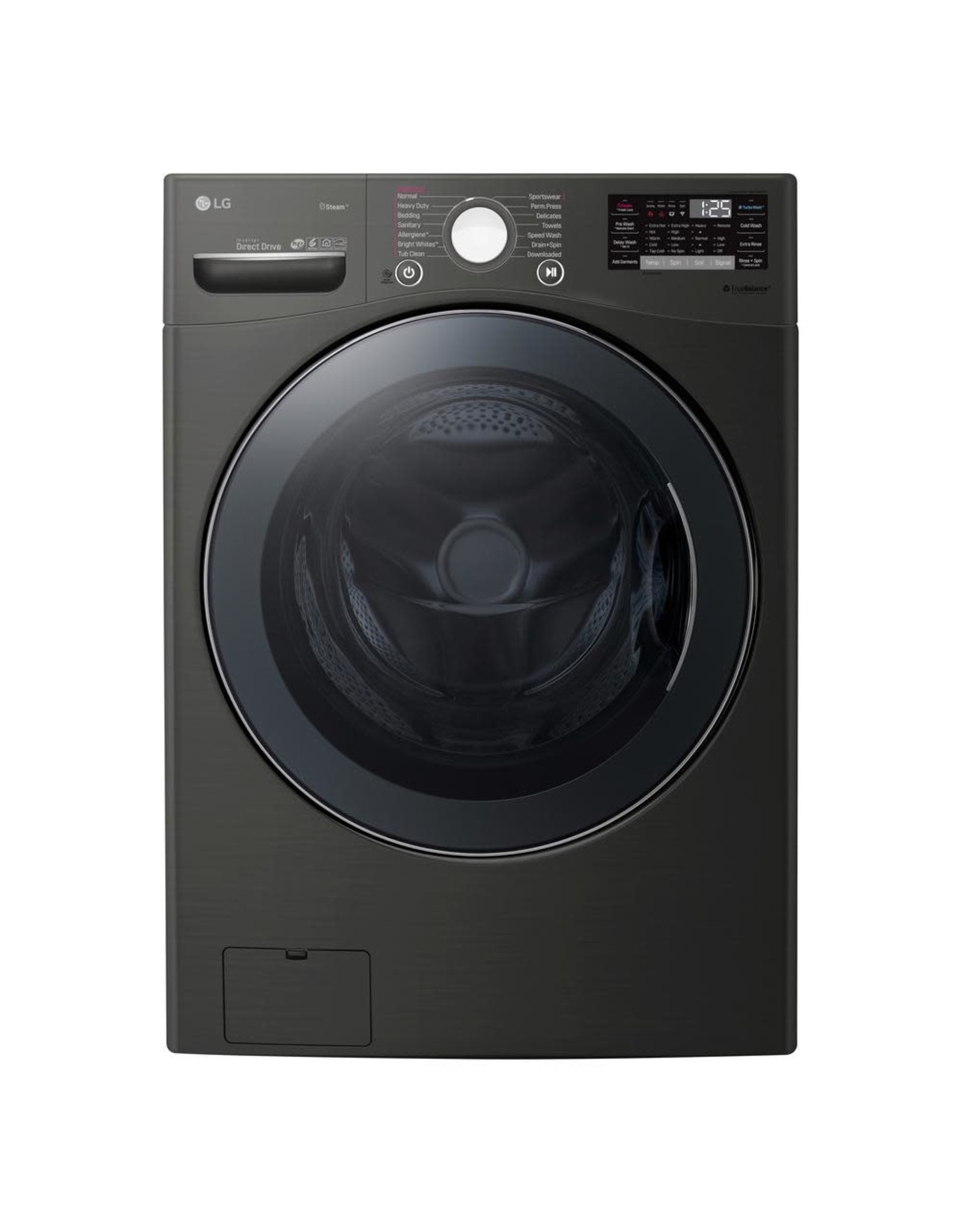 LG Electronics WM3900HBA /666 4.5 cu. ft HE Ultra Large Smart Front Load Washer with TurboWash360, Steam & Wi-Fi in Black Steel, ENERGY STAR