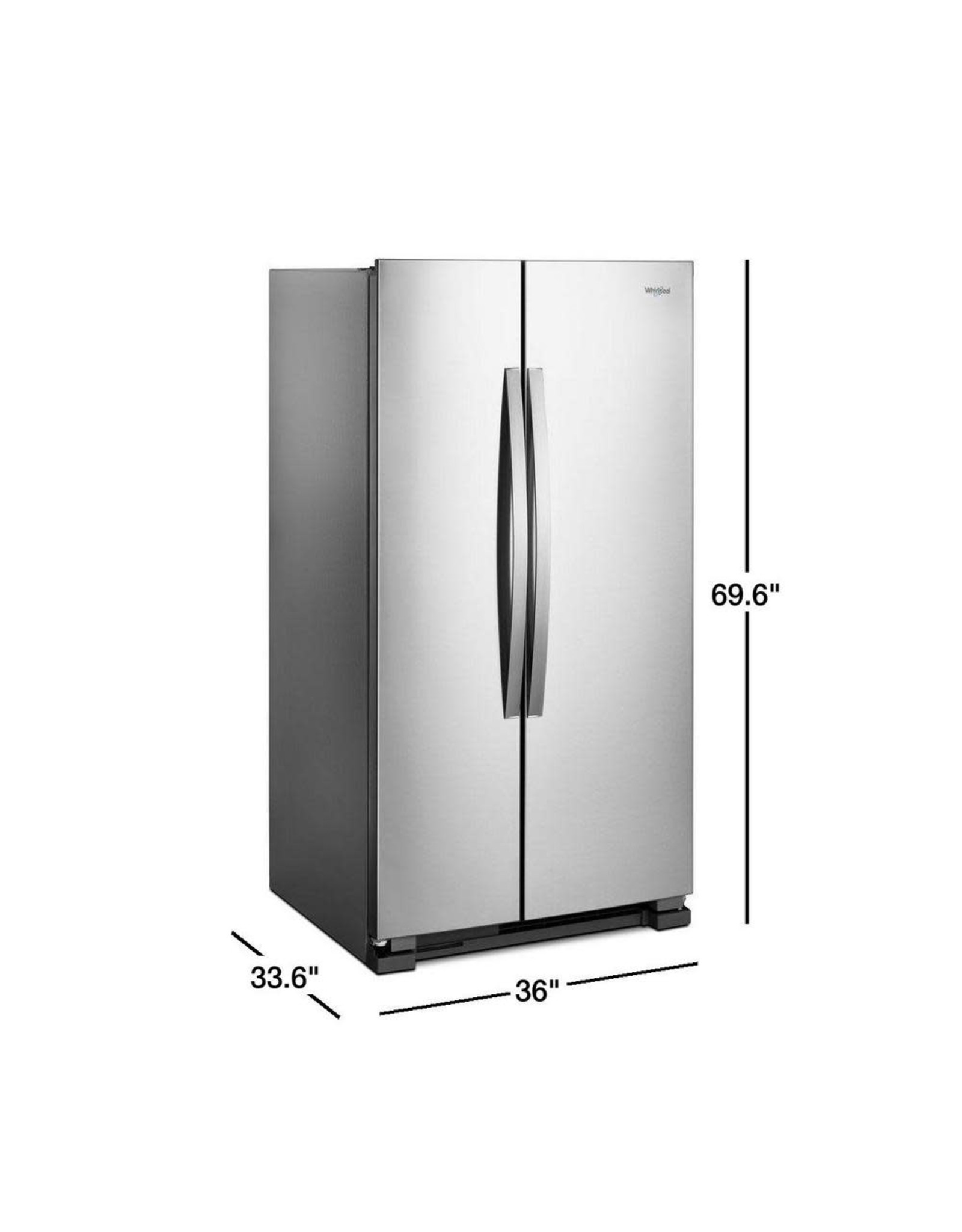 WRS315SNHM WHR No Frost Side - Free Standing Refr Frez - 25 CU FT, 36 INCH WIDTH, LED, NON DISPEN