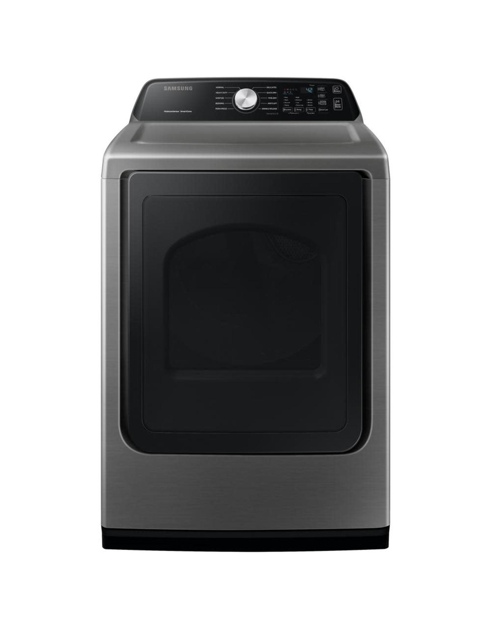 SAMSUNG DVE45T3400P Large 7.4 cu. ft. Capacity Platinum Top Load Electric Dryer with Sensor Dry