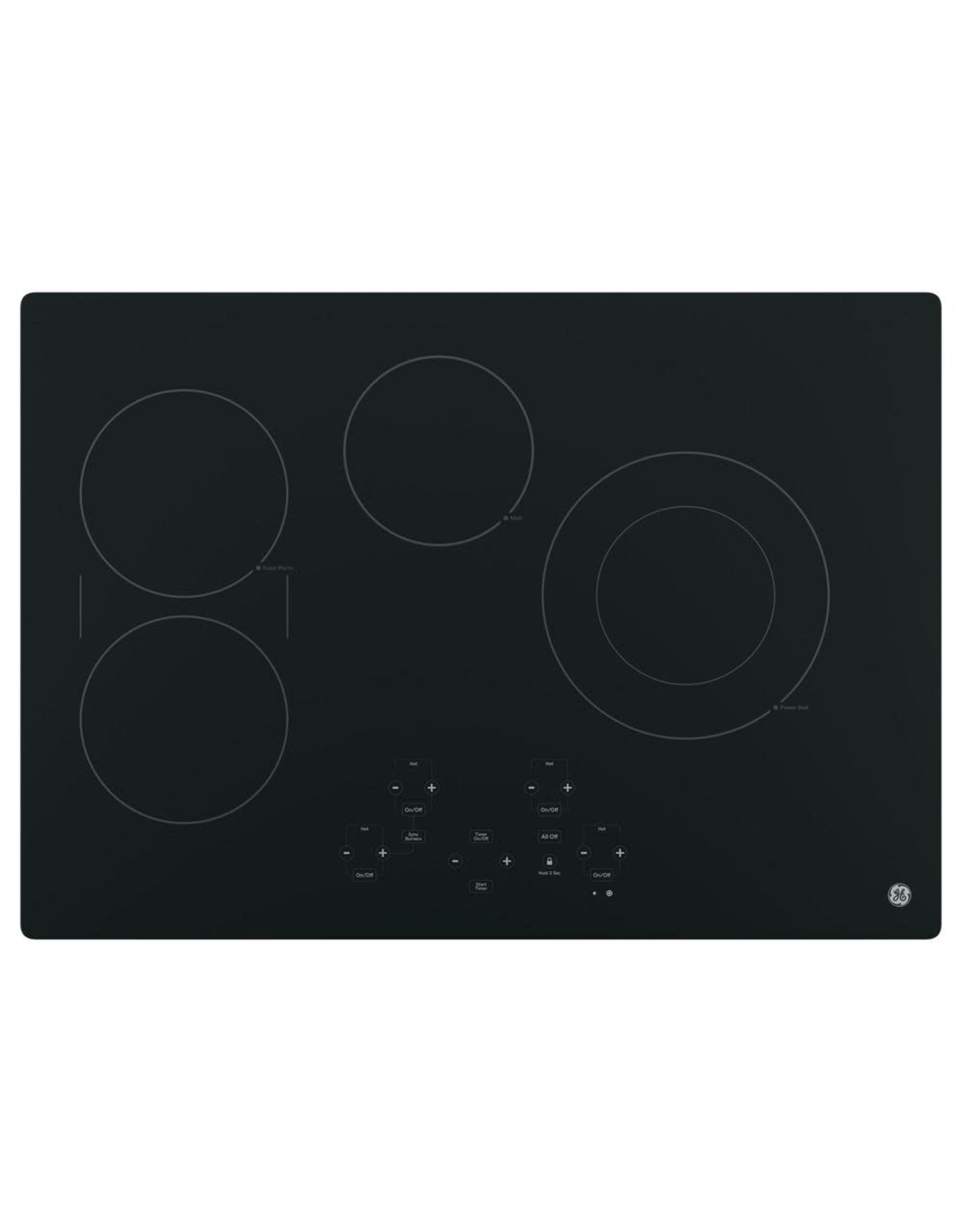 GE JP5030DJBB 30 in. Radiant Electric Cooktop in Black with 4 Elements including Power Boil Element