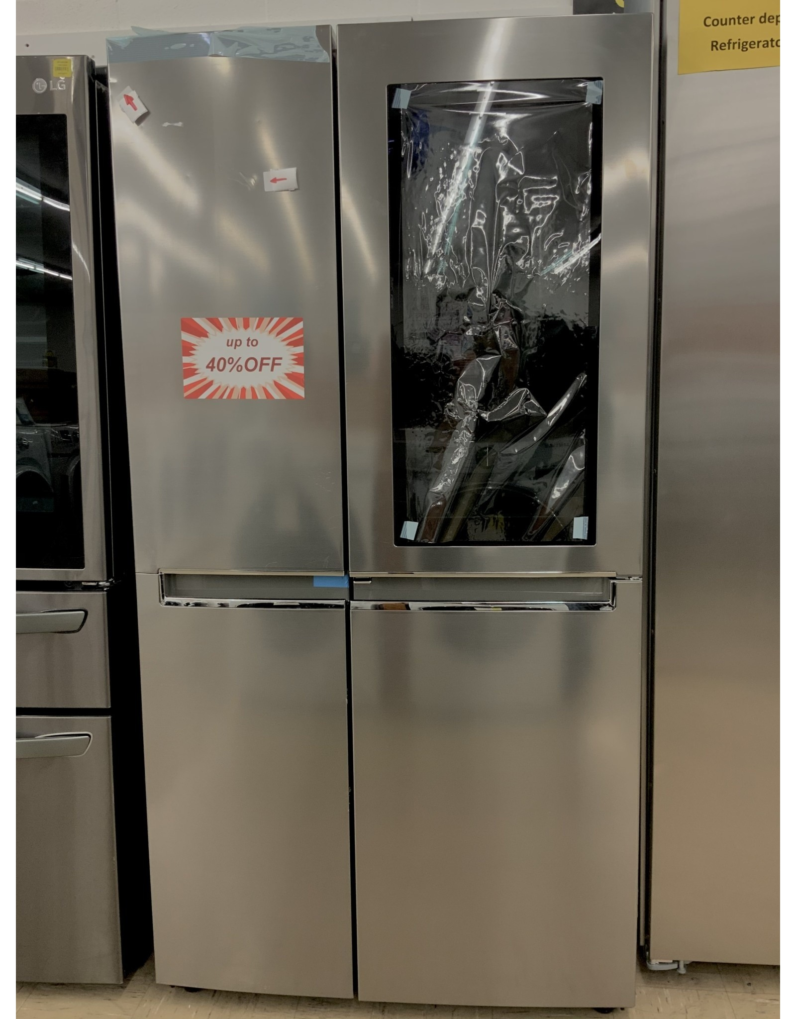 LG Electronics 26.8 cu. ft. Side by Side Refrigerator with InstaView Door-in-Door, Non-Dispenser with Pocket Handles in Platinum Silver