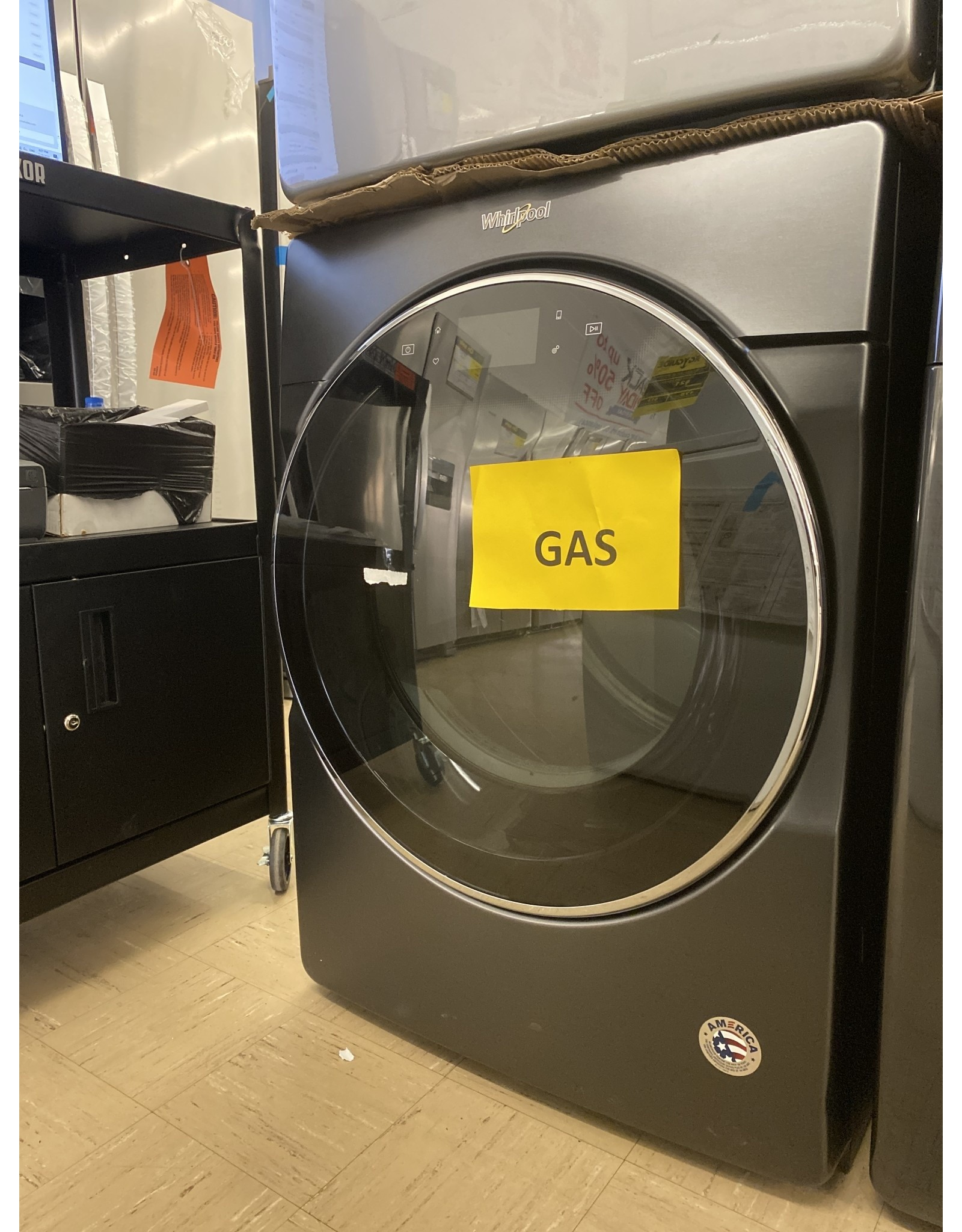 WHIRLPOOL WGD9620HBK 7.4 cu. ft. 120-Volt Black Shadow Stackable Smart Gas Vented Dryer with Remote Start, ENERGY STAR