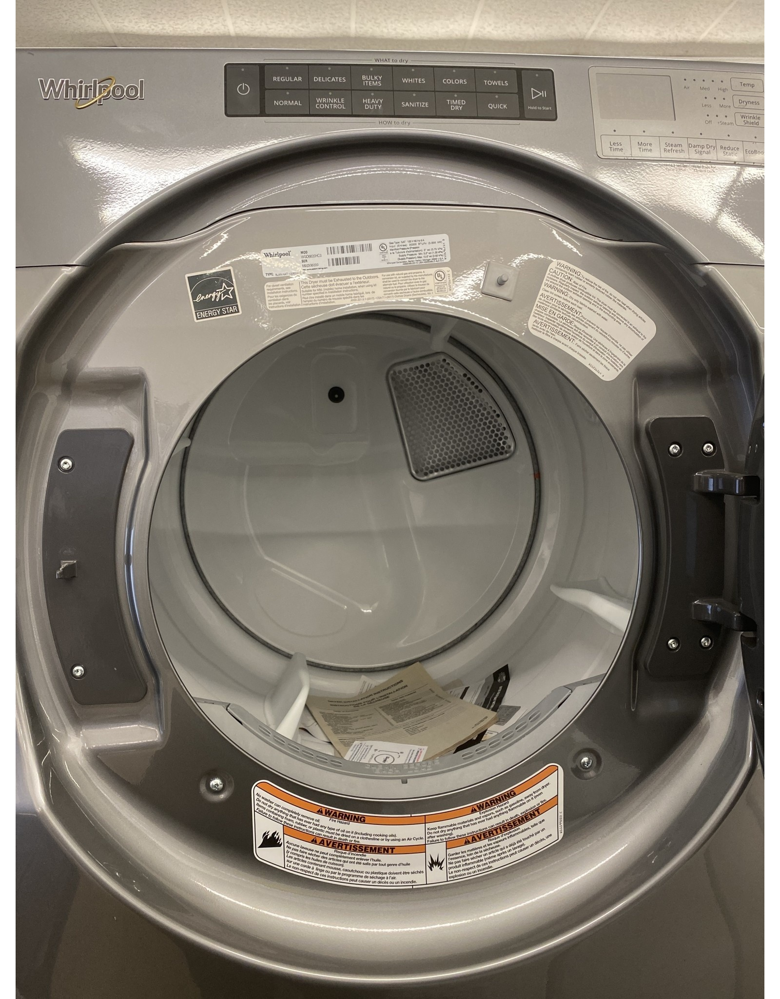 WHIRLPOOL WGD6620HCO 7.4 cu. ft. 120-Volt Chrome Shadow Stackable Gas Vented Dryer with Steam and Intuitive Touch Controls, ENERGY STAR