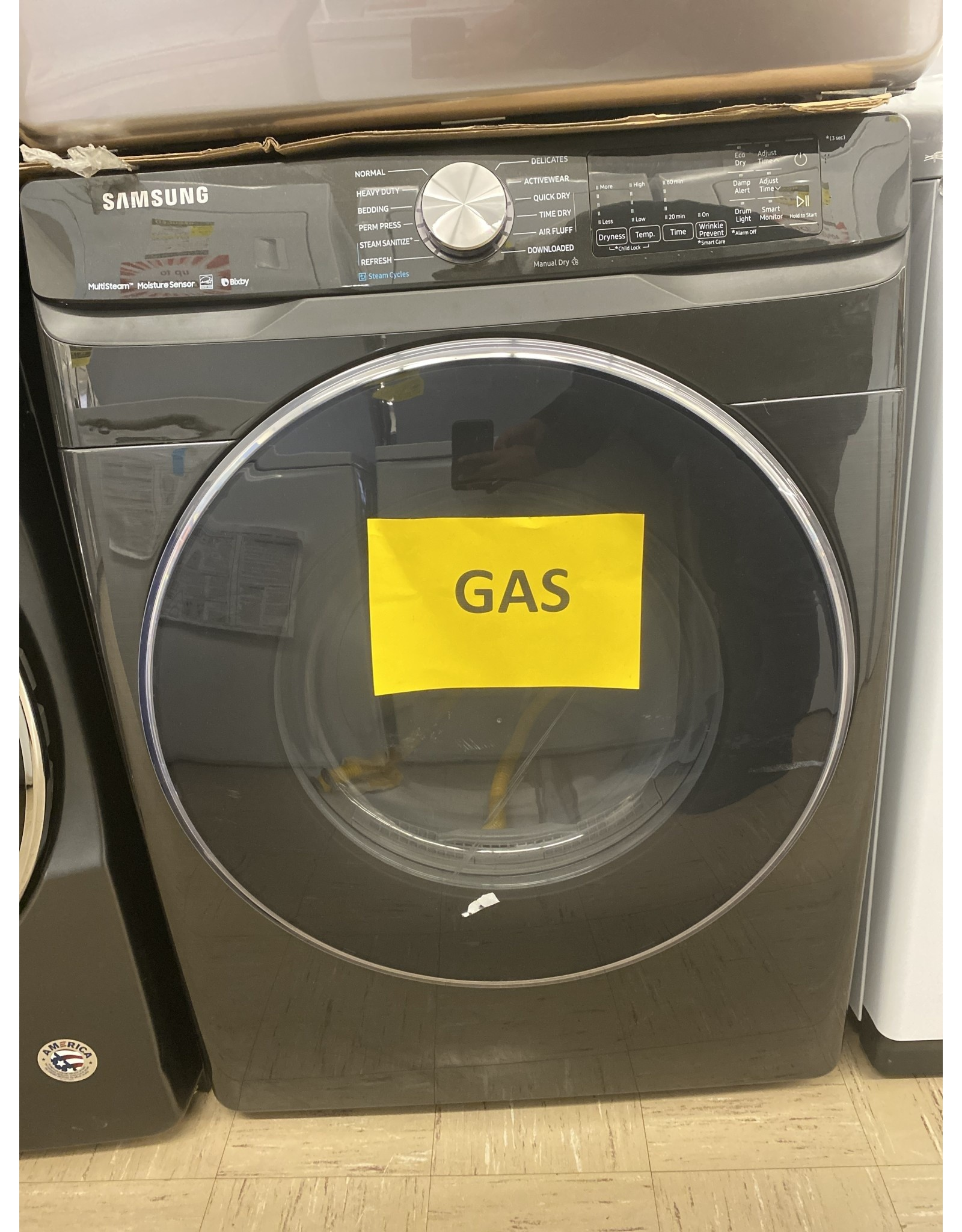 SAMSUNG DVG45R6300V 7.5 cu. ft. Fingerprint Resistant Black Stainless Gas Dryer with Steam Sanitize+