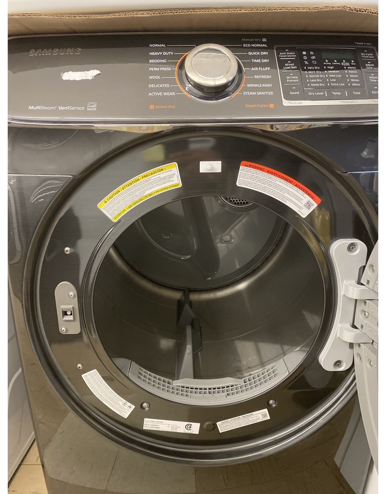 SAMSUNG DV45K6500GVA3 7.5 cu. ft. Gas Dryer with Steam in Black Stainless, ENERGY STAR