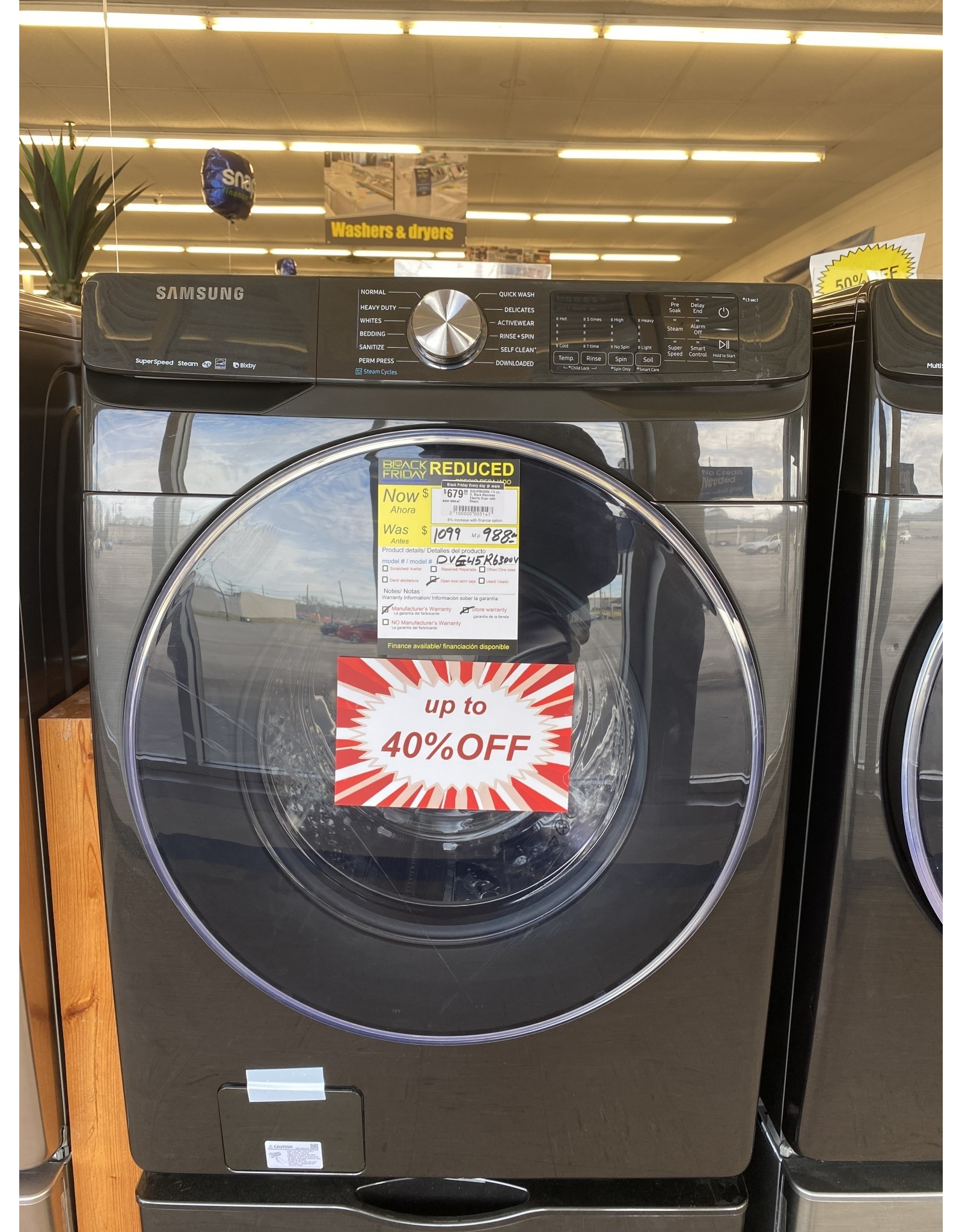 SAMSUNG DVE45R6300V 7.5 cu. ft. Black Stainless Electric Dryer with Steam