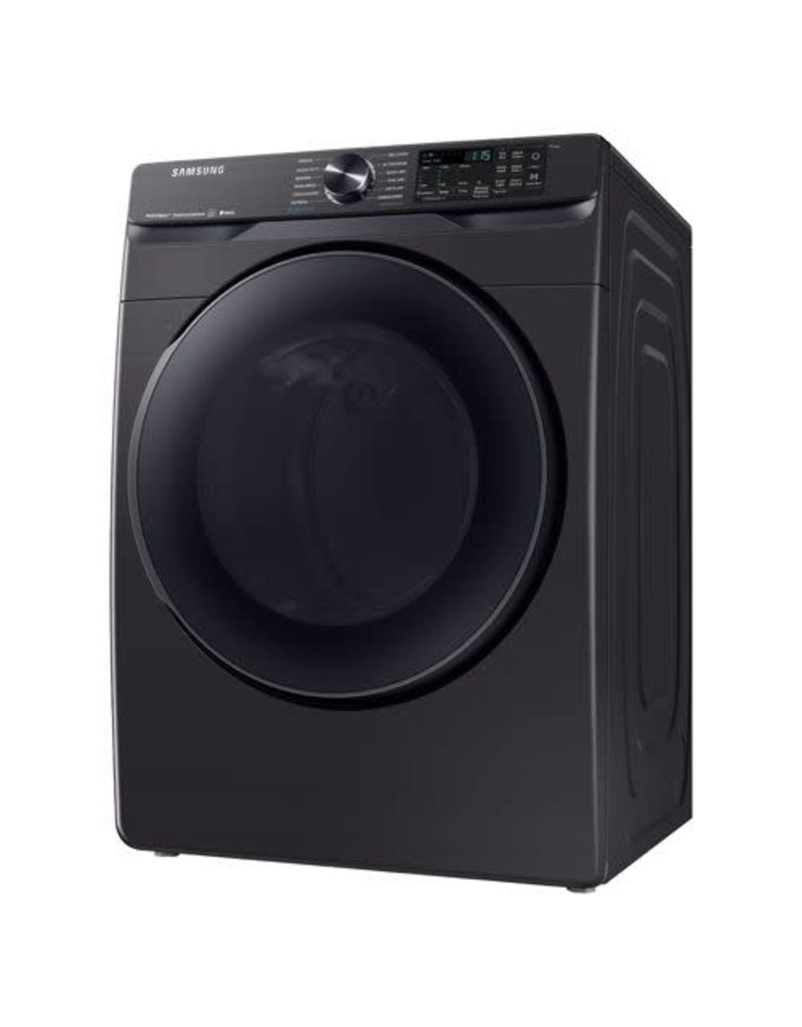 SAMSUNG DVG50R8500V Samsung 7.5 cu. ft. 120-Volt Black Stainless Steel Front Load Gas Dryer with Steam Sanitize+ (Pedestals Sold Separately)