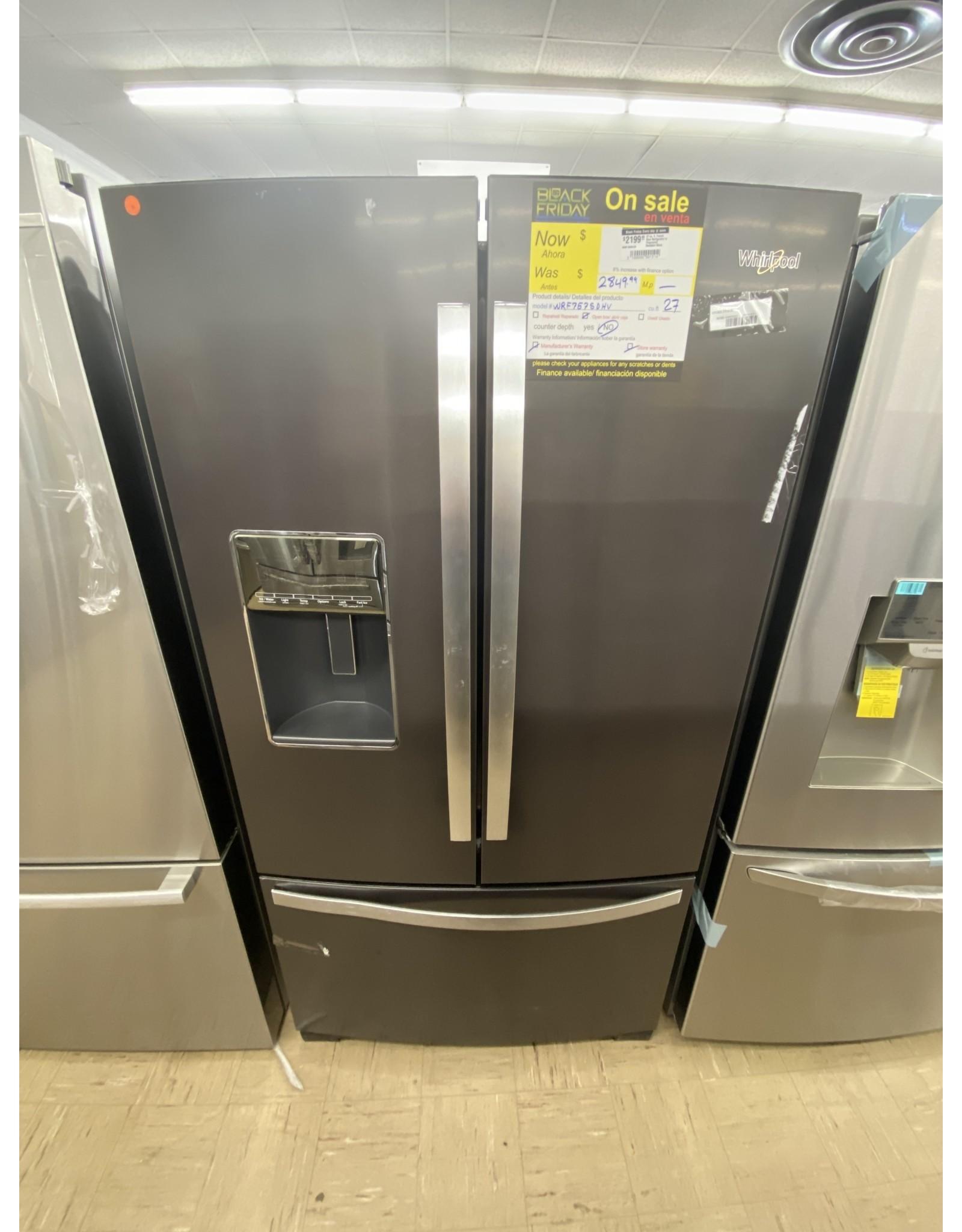 WHIRLPOOL 27 cu. ft. French Door Refrigerator in Fingerprint Resistant Black Stainless
