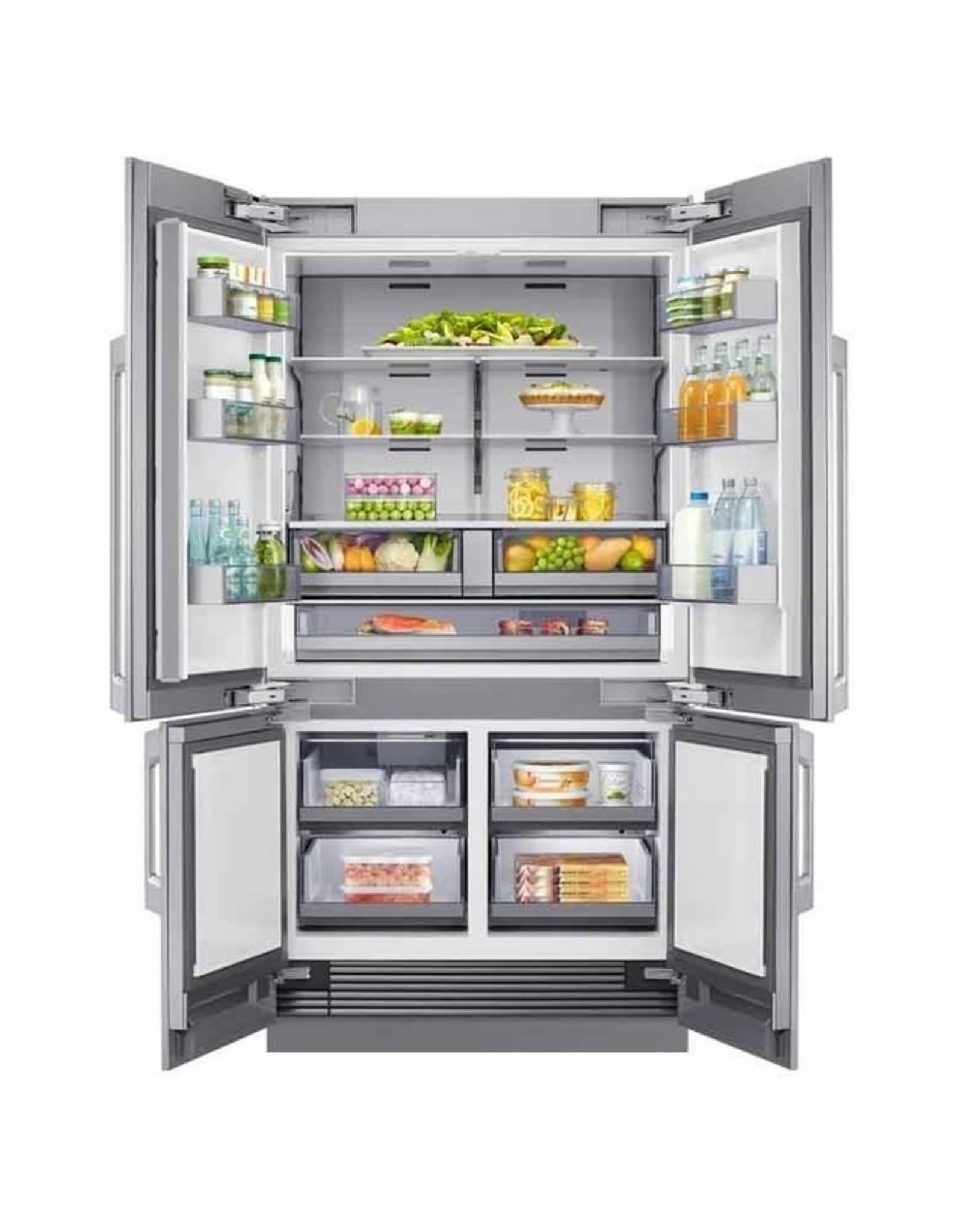 Dacor Transitional DRF425300AP 42 Inch Panel Ready Built-In 4 Door French Door Refrigerator with 23.5 Cu. Ft. Total Capacity, Internal Water Dispenser, Ice Maker, Triple Cooling, FreshZone™ Plus Compartment, FreshZone™ Drawer, Sabbath Mode, and ENERGY STAR® Qualified