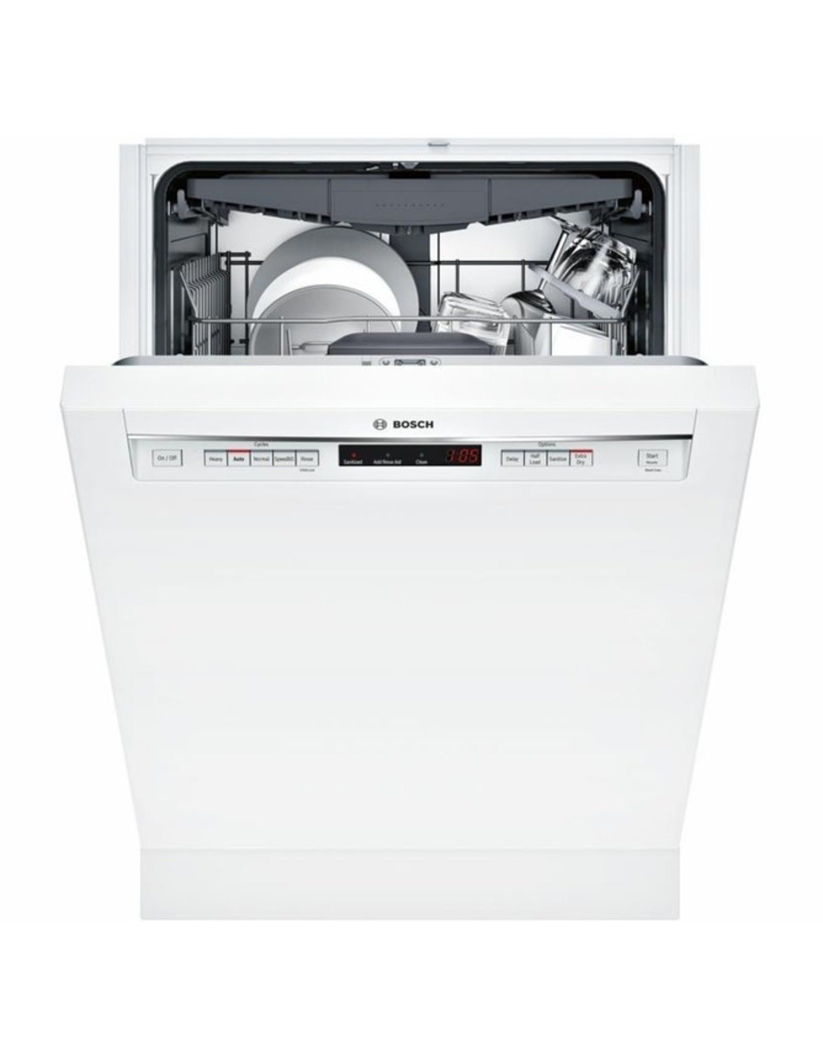 BOSCH SHEM63W52N  300 Series 24 in. White Front Control Tall Tub Dishwasher with Stainless Steel Tub and 3rd Rack, 44dBA
