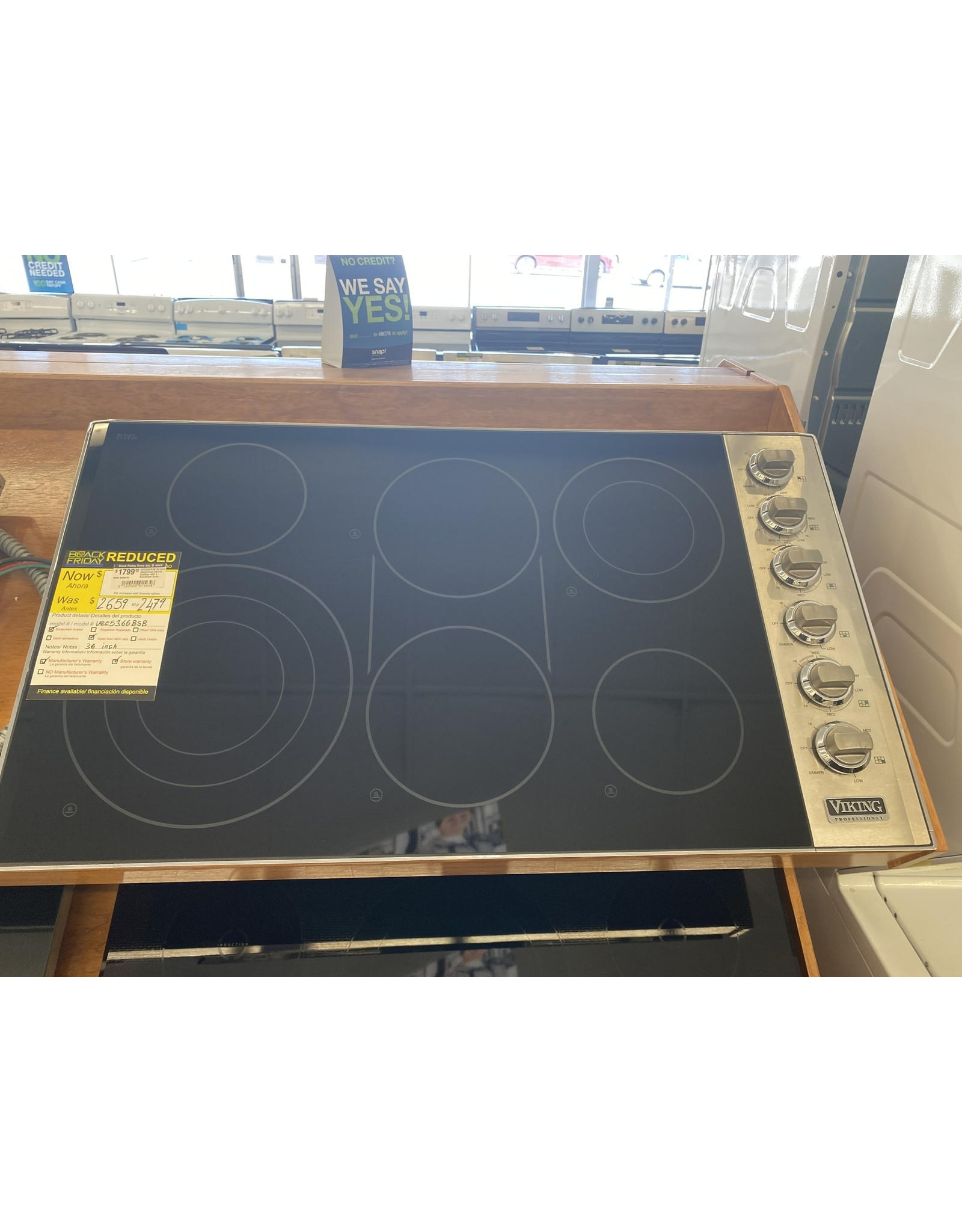 viking VEC5366BSB 36 Inch Smoothtop Electric Cooktop with 6 QuickCook Surface Infrared Elements, Triple Element, Bridge Element, 10 Cooking Zones and Hot Surface Indicators