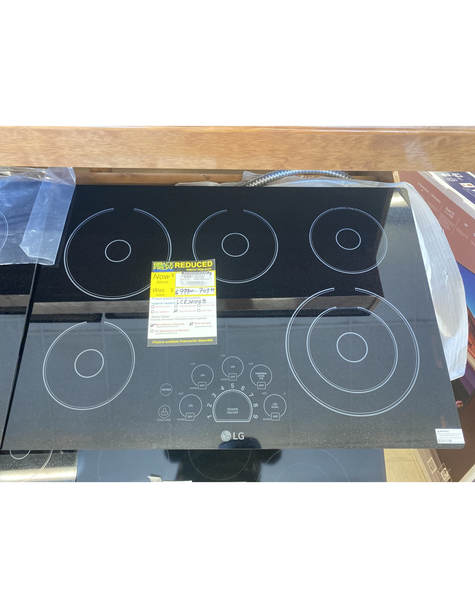 LG Electronics LCE3010SB 30 in. Radiant Smooth Surface Electric Cooktop in Black with 5 Elements