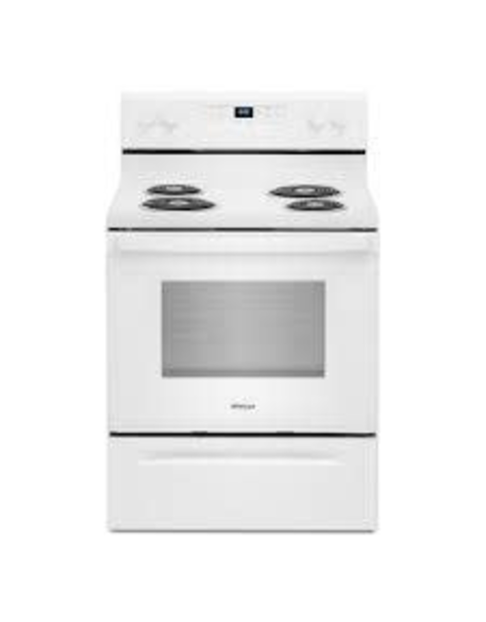 WHIRLPOOL WFC150M0JW 30 in. 4.8 cu. ft. 4-Burner Electric Range with Keep Warm Setting in White with Storage Drawer