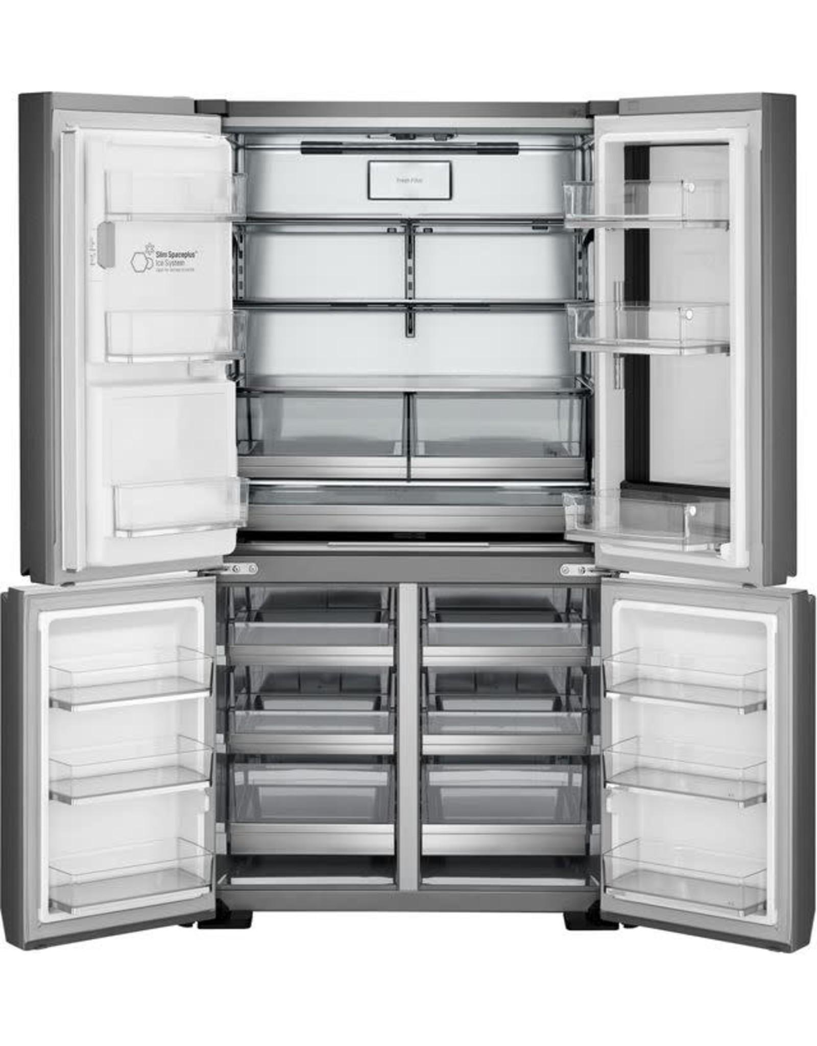 23 cu. ft. 4-Door French Door Refrigerator in Textured Steel with Instaview Door-in-Door, Counter Depth