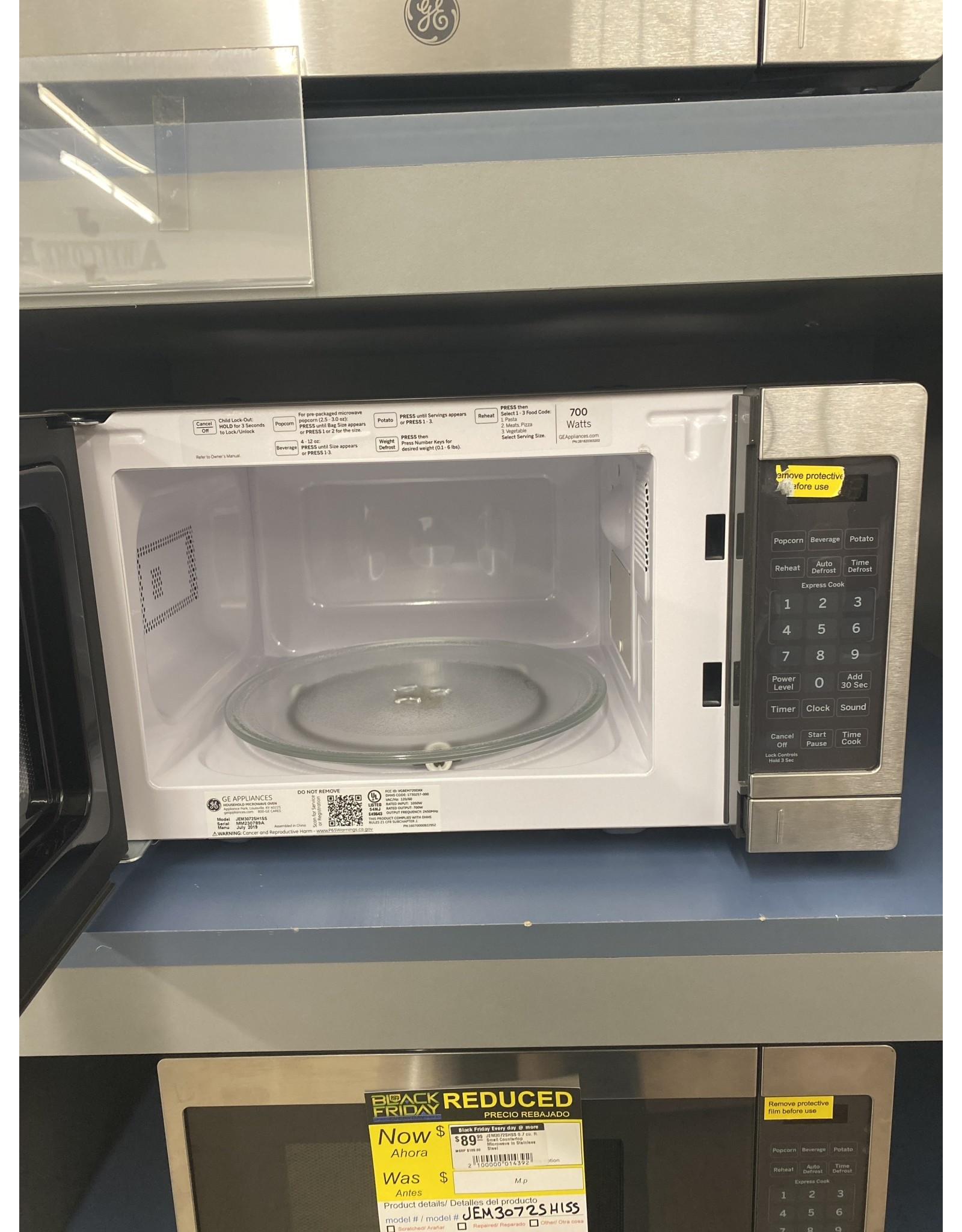GE JEM3072SHSS 0.7 cu. ft. Small Countertop Microwave in Stainless Steel