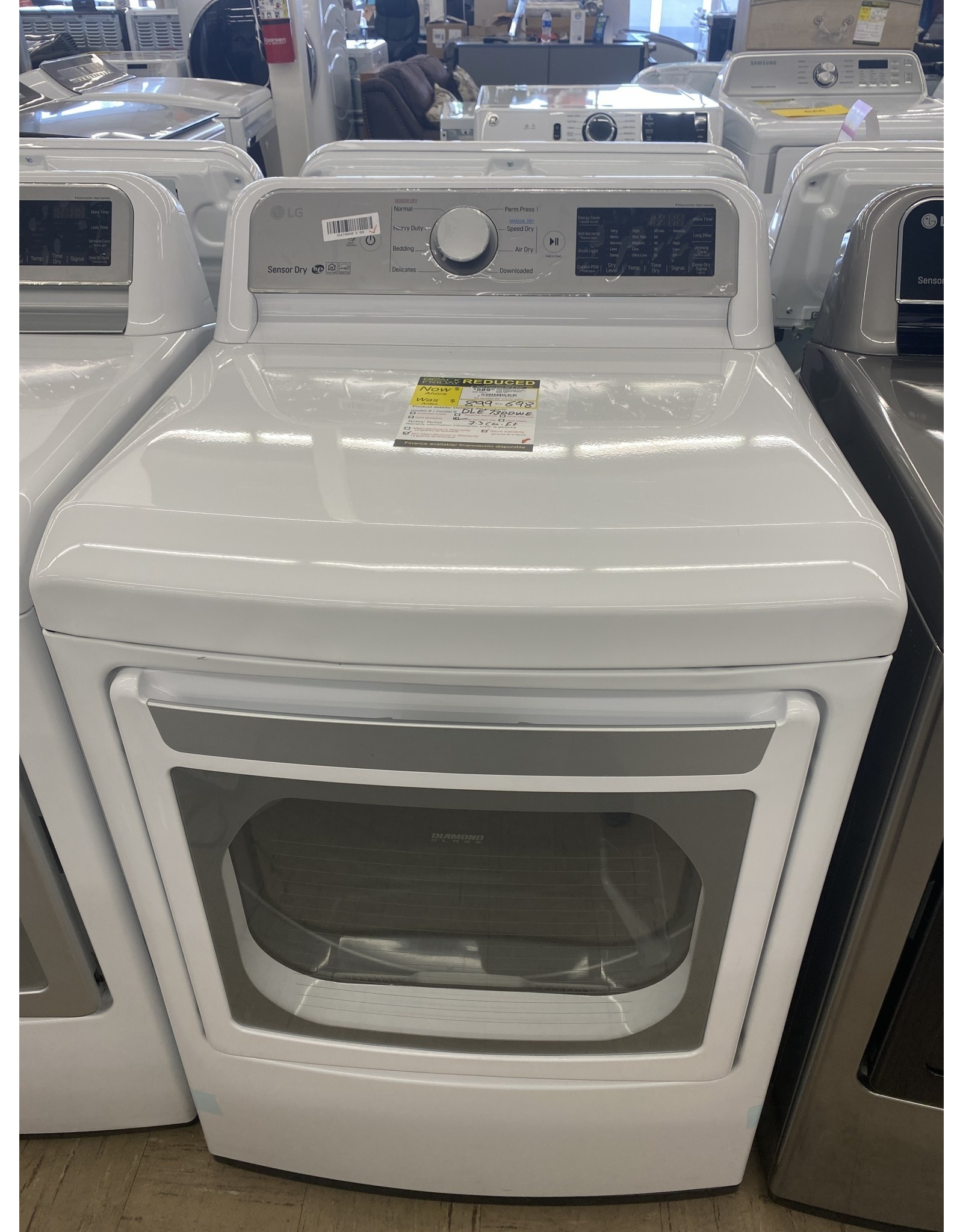 LG Electronics DLEX7800WE 7.3 cu. ft. Ultra Large Smart Front Load Electric Dryer with EasyLoad Door, TurboSteam, and Wi-Fi Enabled in White