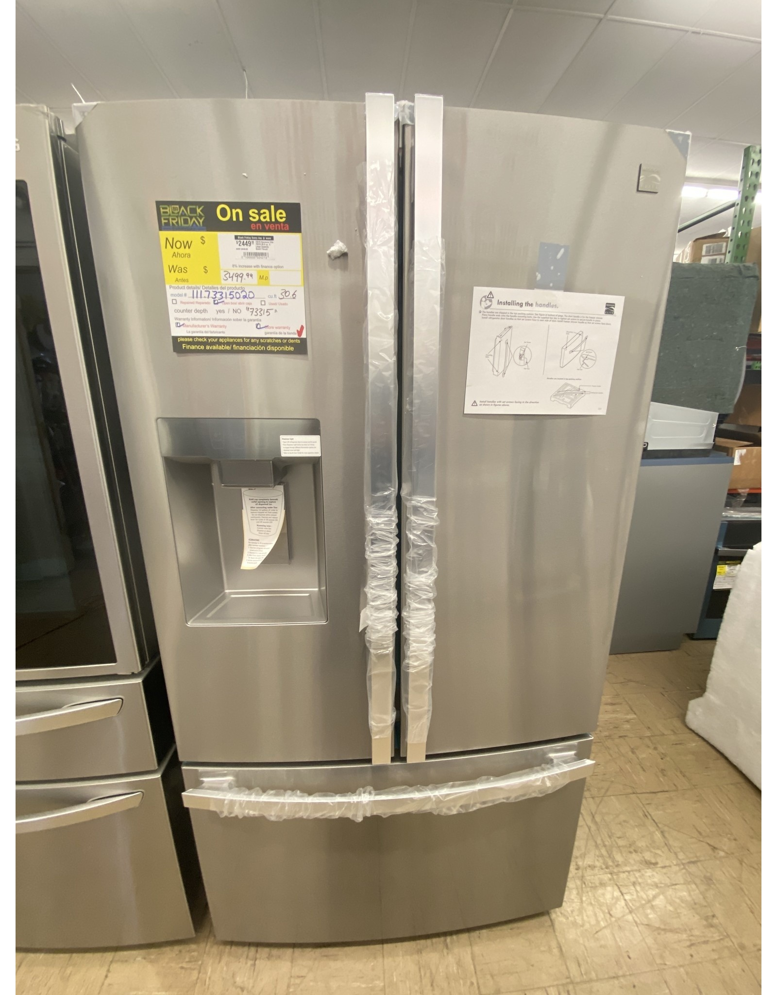 KENMORE ELITE 73315 Kenmore Elite 73315 30.6 cu. ft. Large Capacity Smart French Door Refrigerator - Fingerprint Resistant Stainless Steel