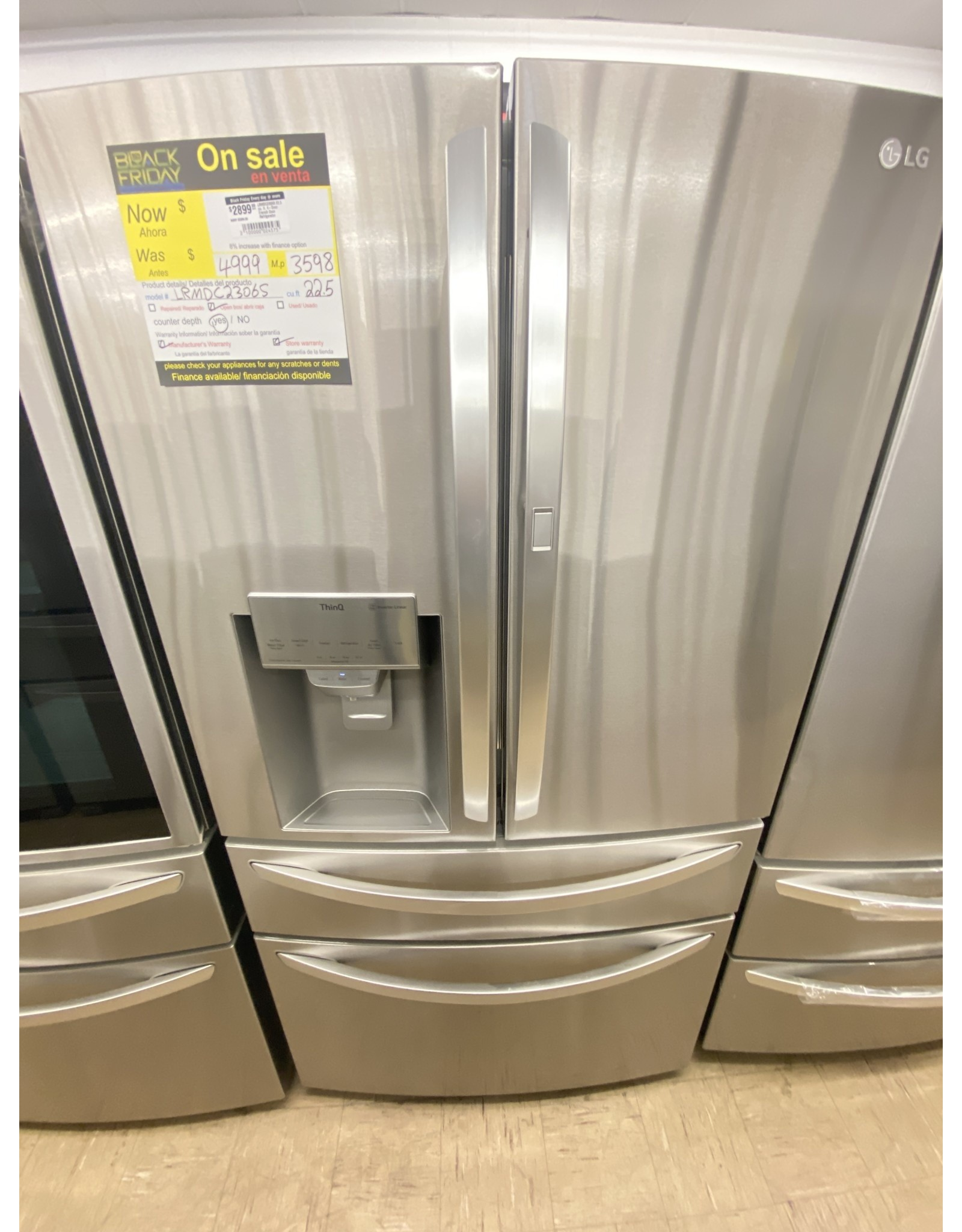 LG Electronics LRMDC2306S 22.5 cu. ft. 4-Door French Door Refrigerator Door-In-Door, Dual and Craft Ice in PrintProof Stainless, Counter Depth