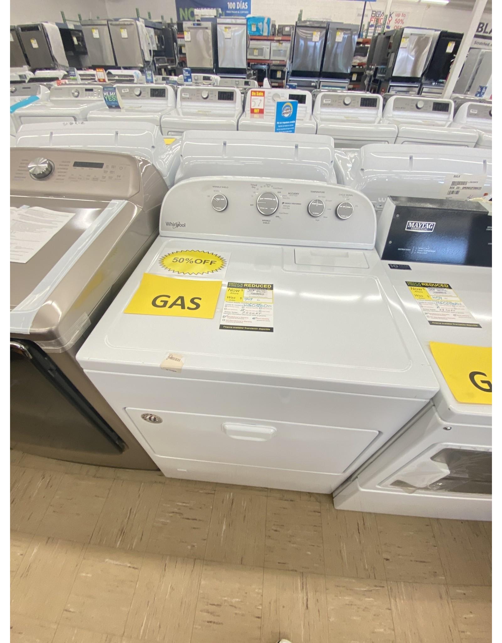 WGD5000DW WHR Air Vented - Dryer TL Matching - 7.0 CU FT, GAS, HAMPER DOOR, HE SENSOR D