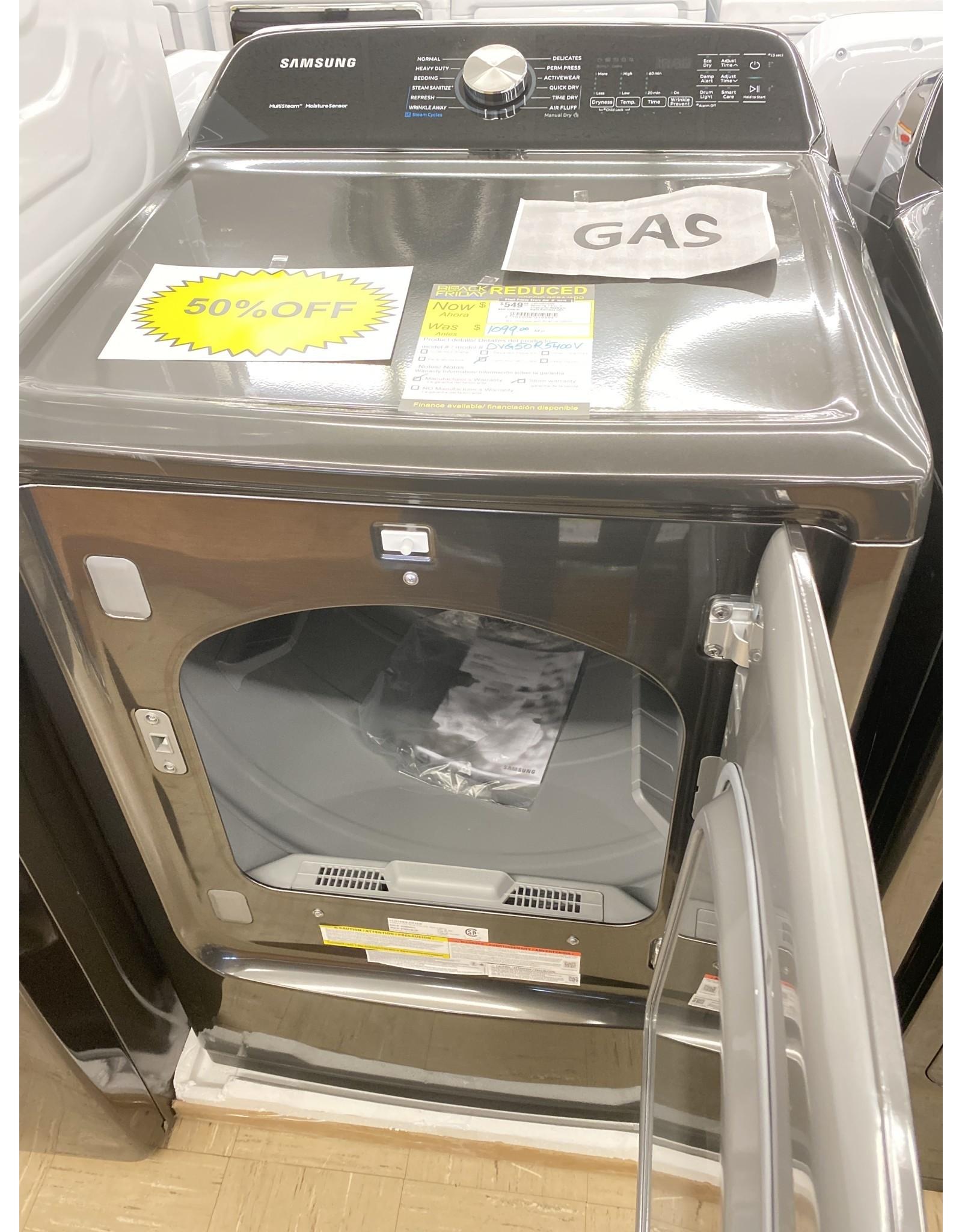 SAMSUNG DVG50R5400V Samsung 7.4 cu. ft. Fingerprint Resistant Black Stainless with Steam Sanitize+