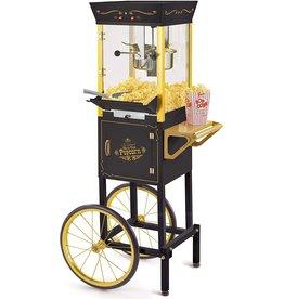 Nostalgia Vintage 8 oz. black Oil Popcorn Machine with Cart