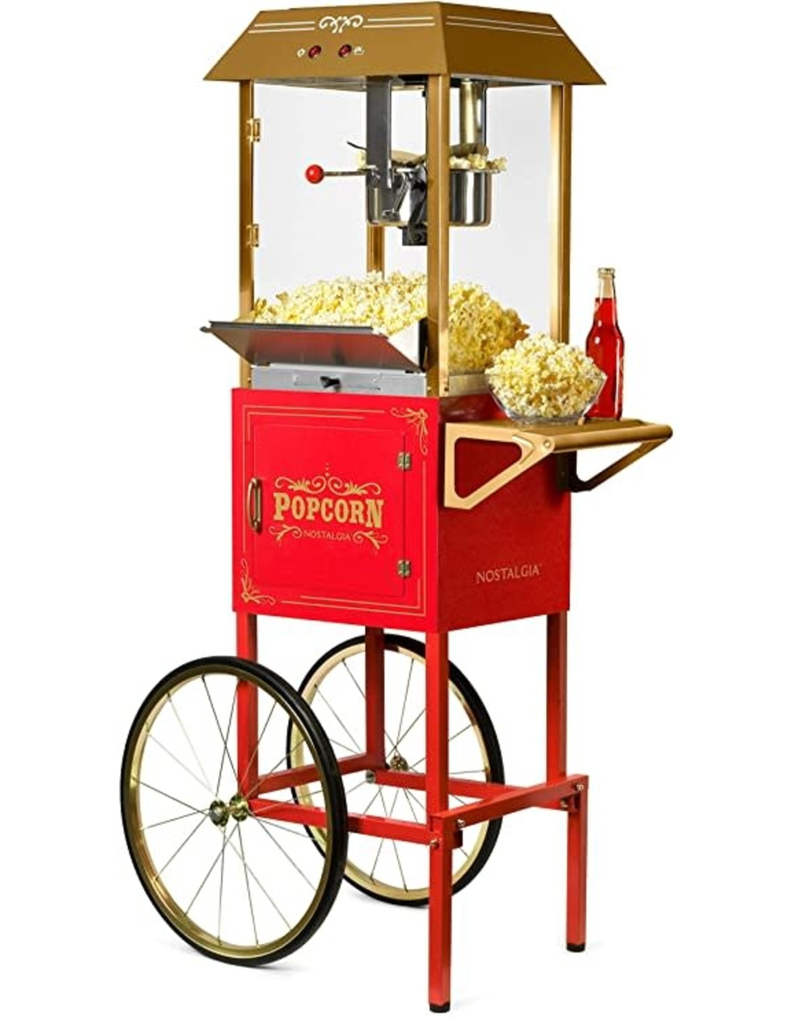"""Nostalgia CCP1000RED Nostalgia Vintage 10-Ounce Professional Popcorn and Concession Cart   59"""" Tall, Makes 40 Cups of Popcorn, Kernel Measuring Cup, Oil Measuring Spoon & Scoop   Red"""