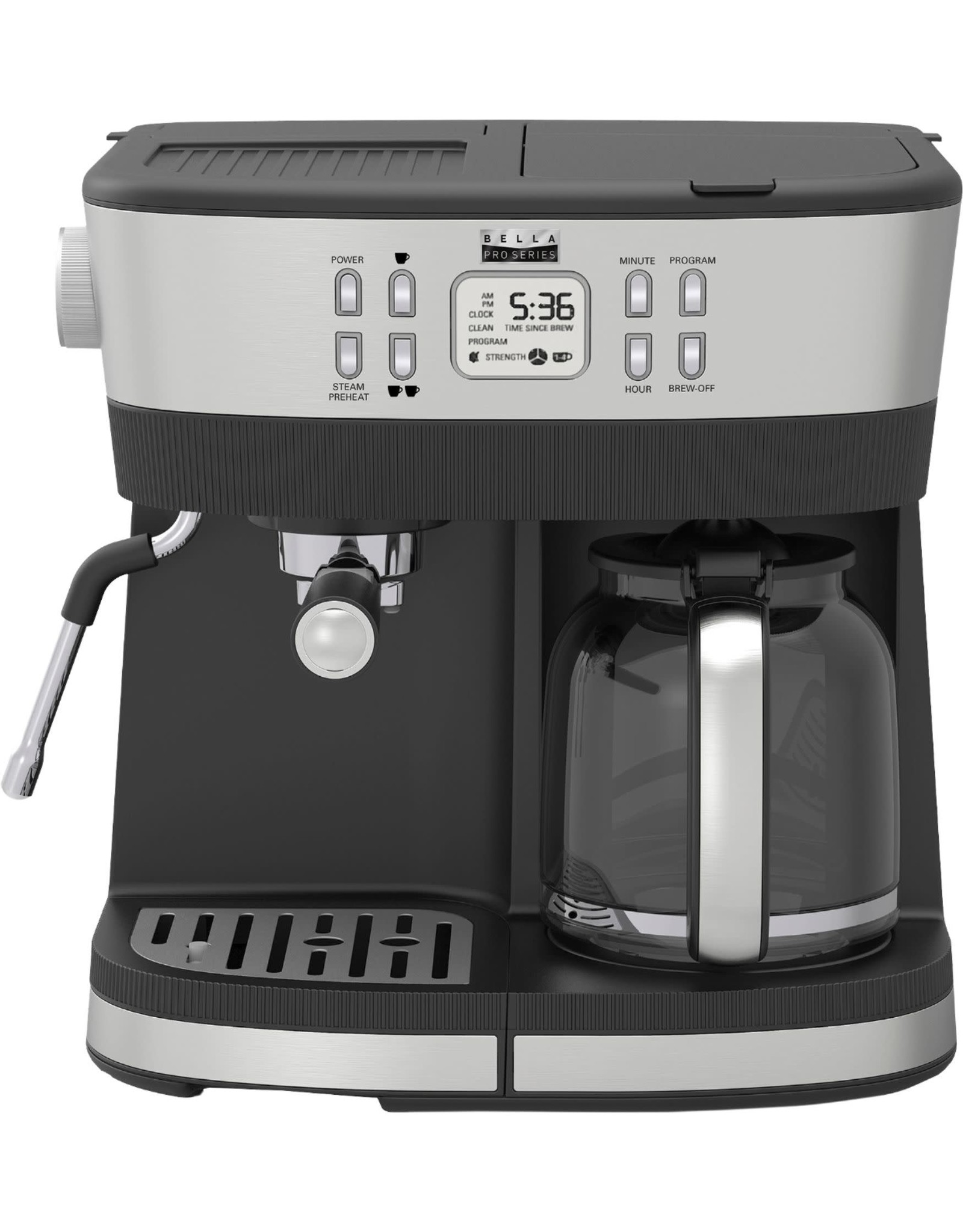 Bella pro 90103 Bella Pro Series - Combo 19-Bar Espresso and 10-Cup Drip Coffee Maker - Stainless Steel