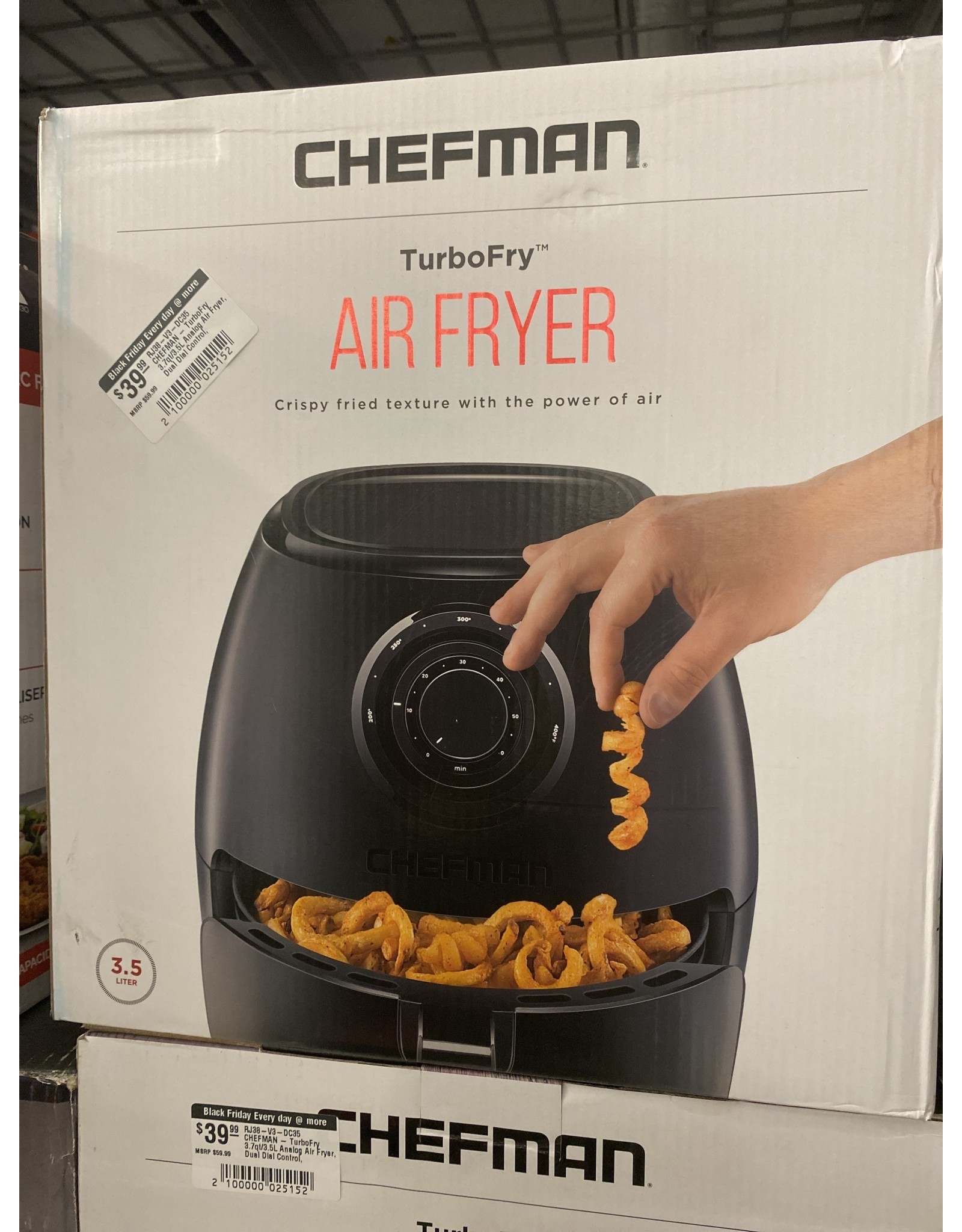 CHEFMAN RJ38-V3-DC35 CHEFMAN - TurboFry 3.7qt/3.5L Analog Air Fryer, Dual Dial Control, Dishwasher-Safe Basket - Black