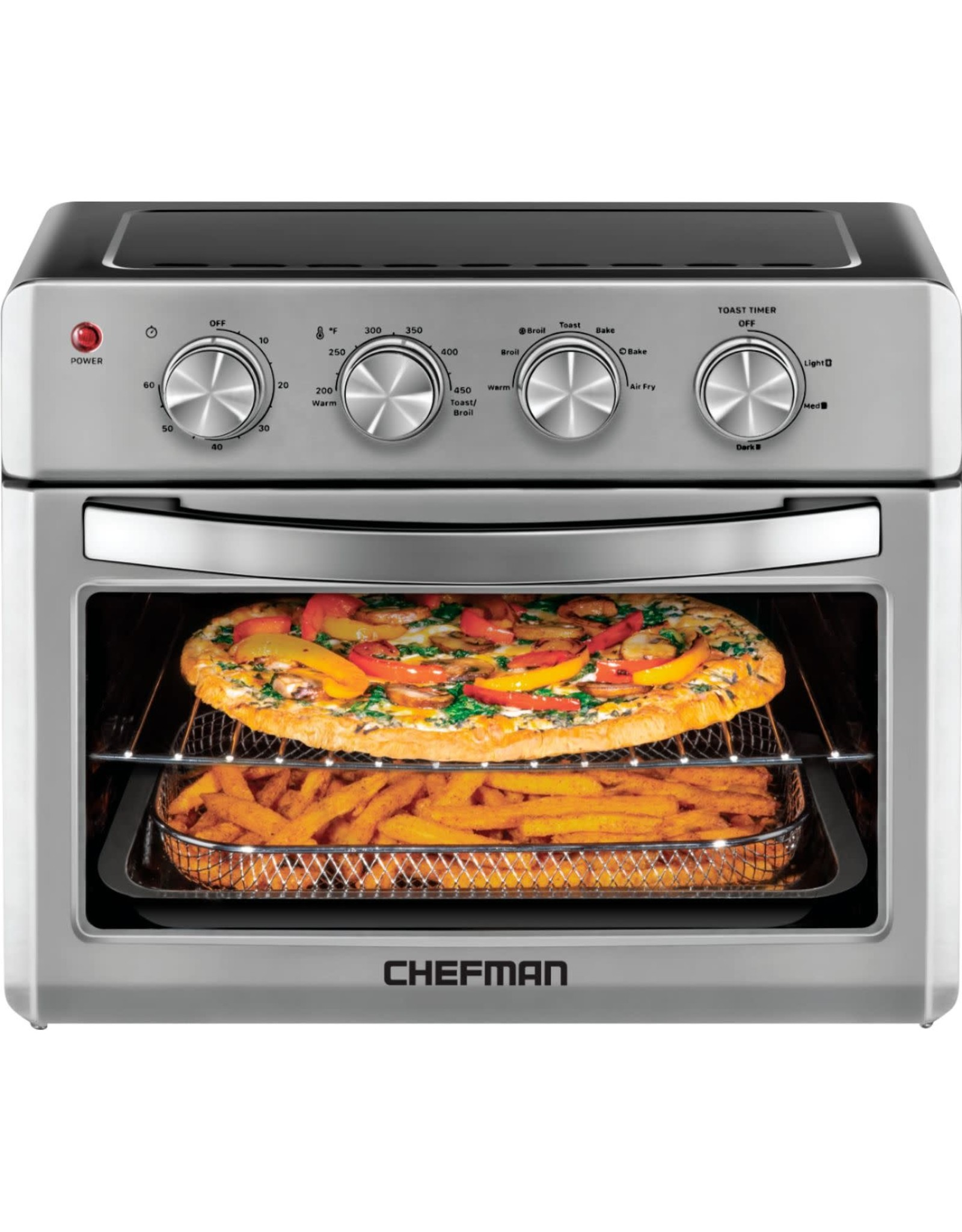CHEFMAN RJ50-M Chefman - 25 L Analog Air Fryer Toaster Oven, 6 Slice, Convection w/ Auto Shut-Off, 60 Min Timer, Stainless Steel/Black - Stainless Steel