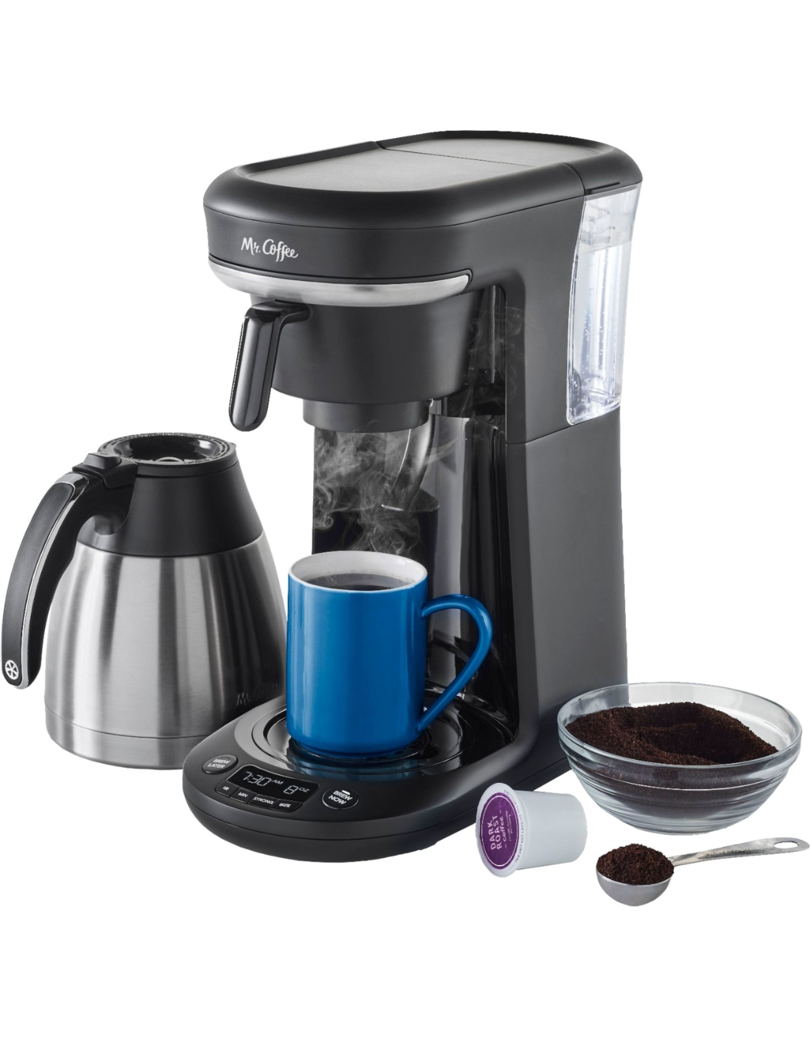 mr. coffee 2121469 Mr. Coffee - Space-Saving Combo 10-Cup Coffee Maker and Pod Single Serve Brewer - Stainless-Steel/Black