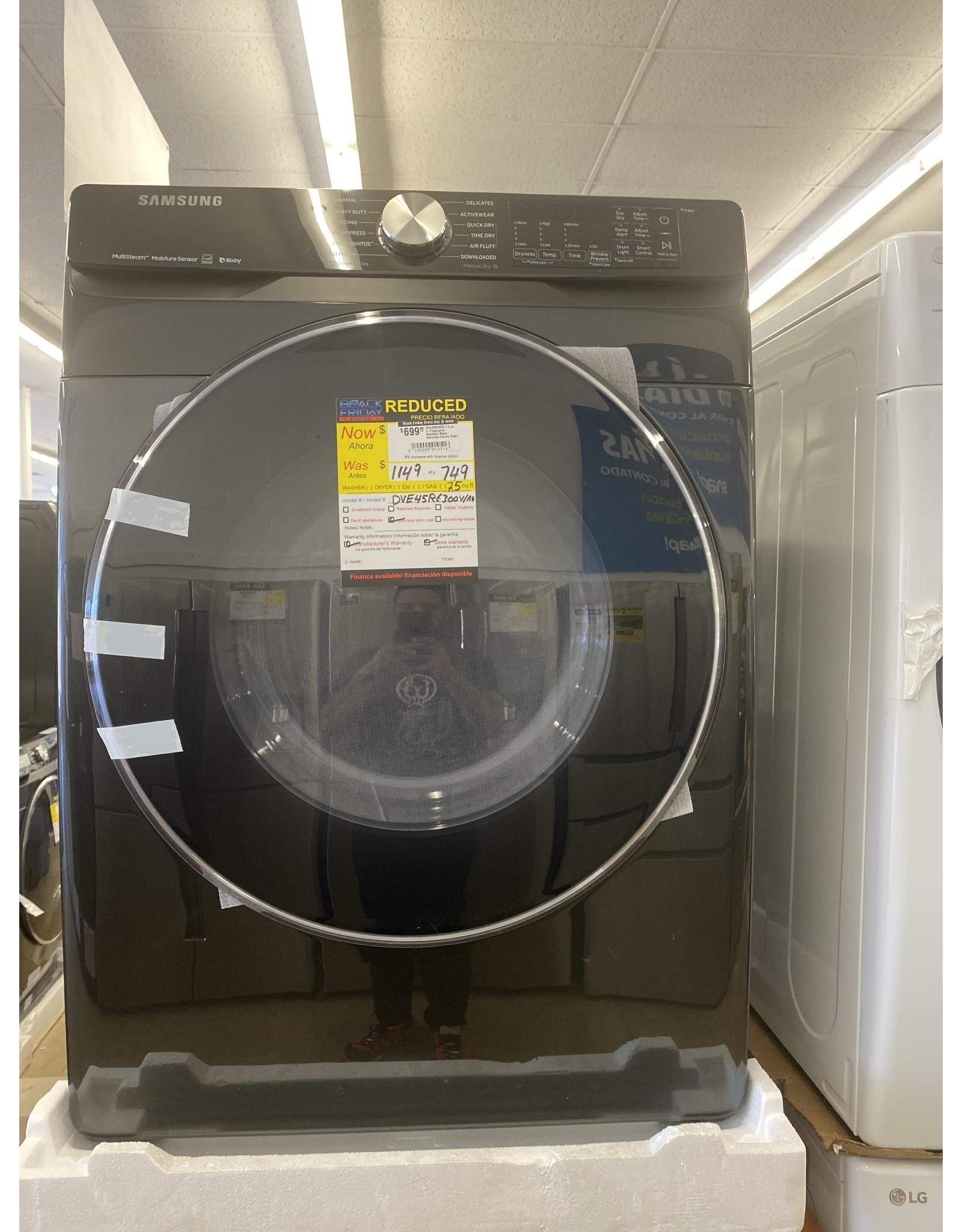 SAMSUNG DVE45R6300V 7.5 cu. ft. Fingerprint Resistant Black Stainless Electric Dryer with Steam Sanitize+, ENERGY STAR