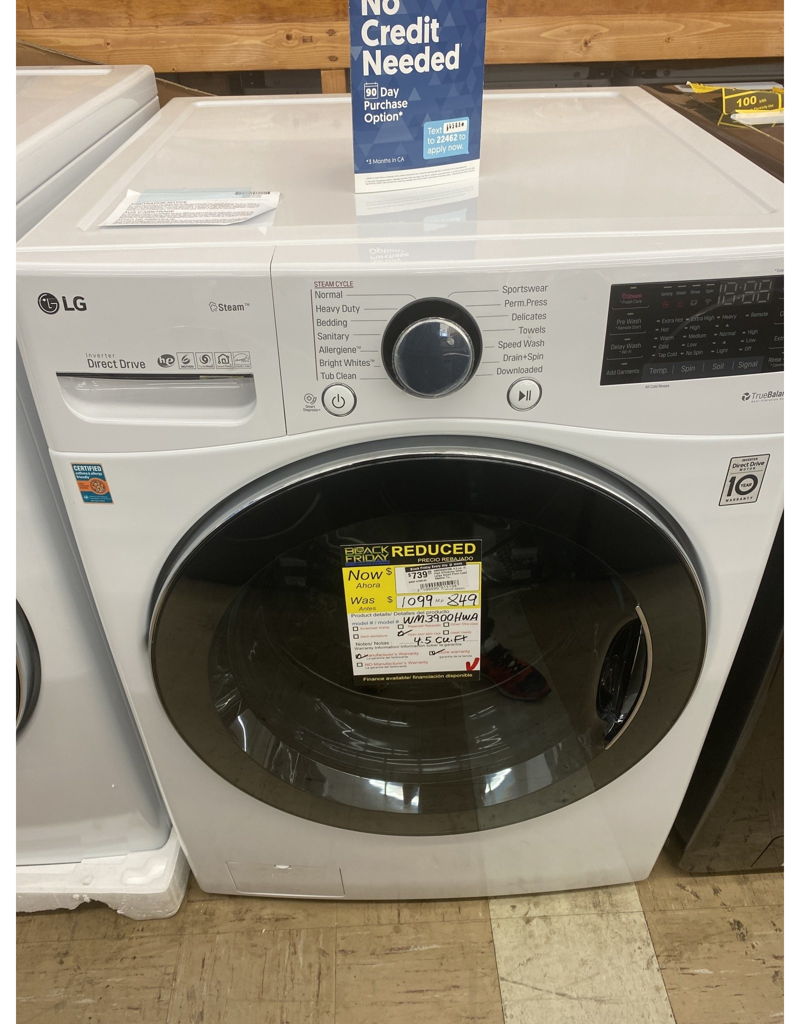 LG Electronics WM3900HWA 4.5 cu. ft. High Efficiency Ultra Large Smart Front Load Washer TurboWash360, Steam & Wi-Fi in White, ENERGY STAR