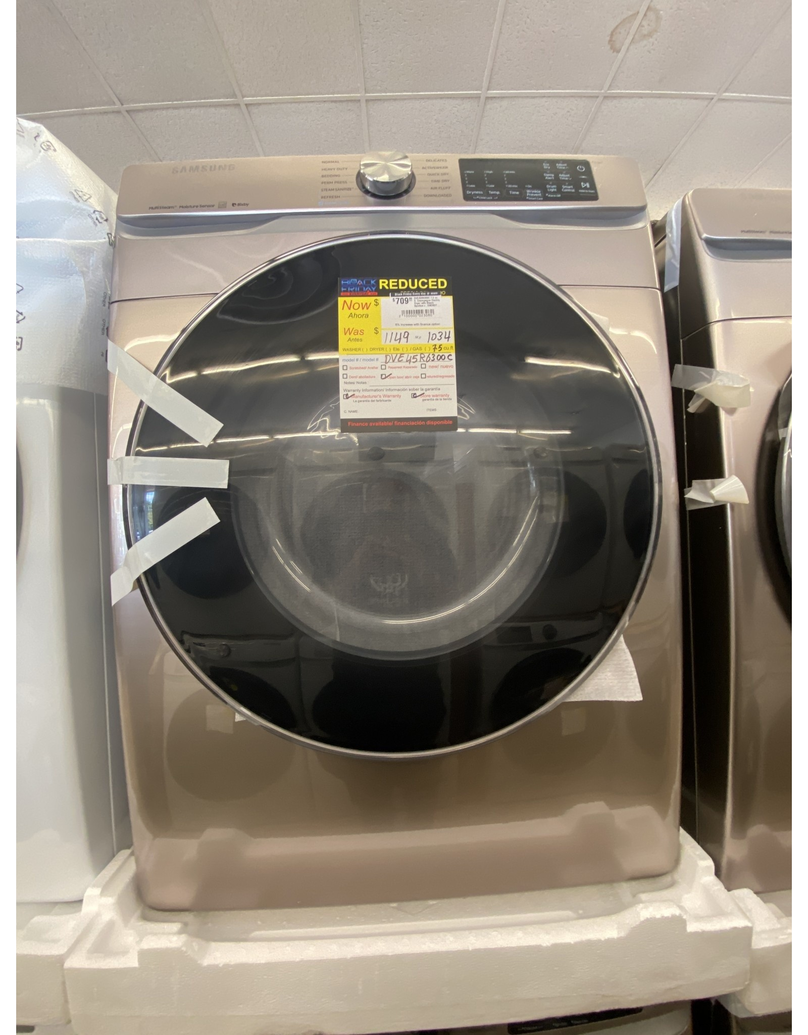 SAMSUNG DVE45R6300C 7.5 cu. ft. Champagne Electric Dryer with Steam Sanitize+, ENERGY STAR