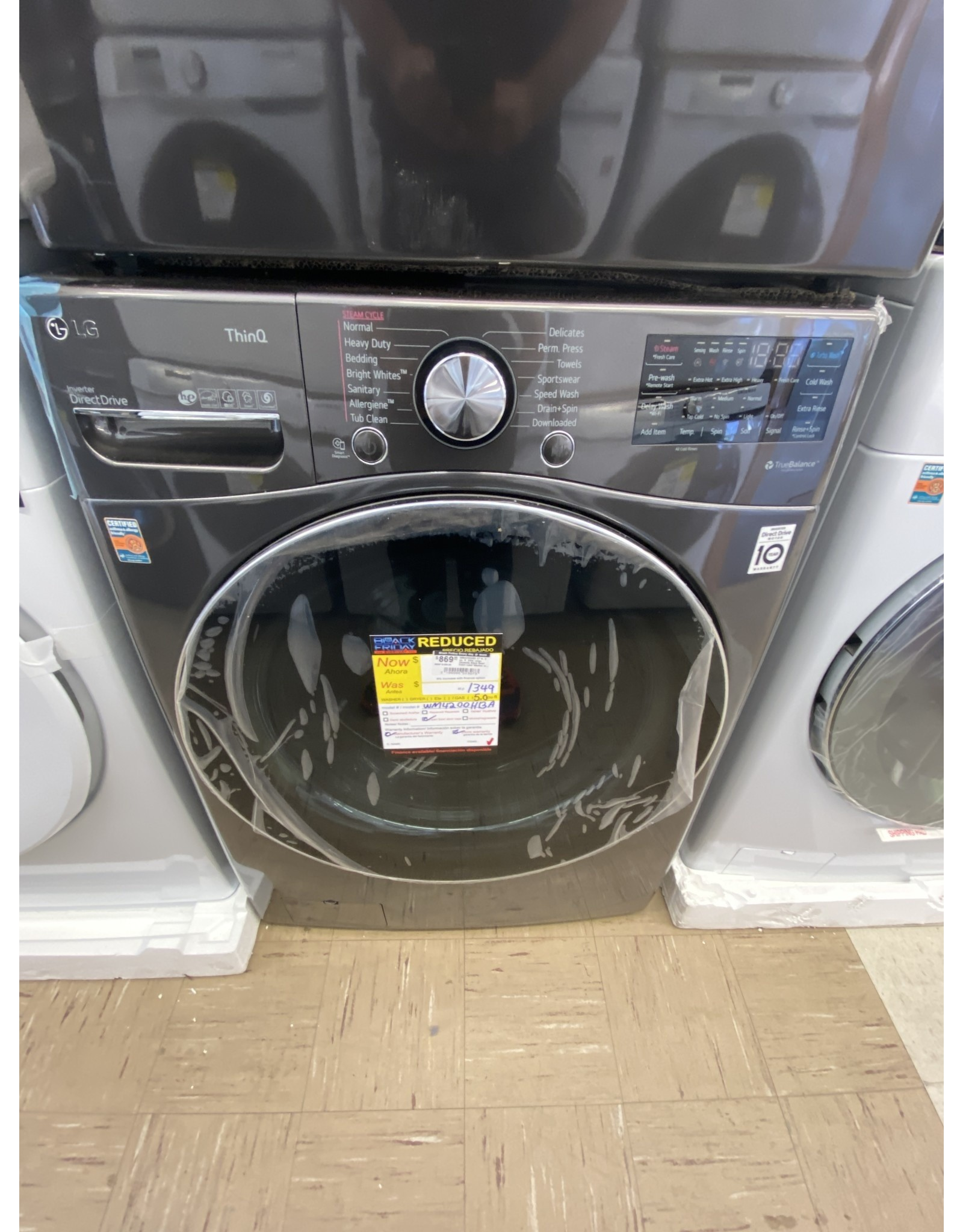 LG Electronics WM4200HBA 27 in. 5 cu. ft. Ultra Large Capacity Black Steel Front Load Washer with Turbo Wash Steam & Wi-Fi Connectivity