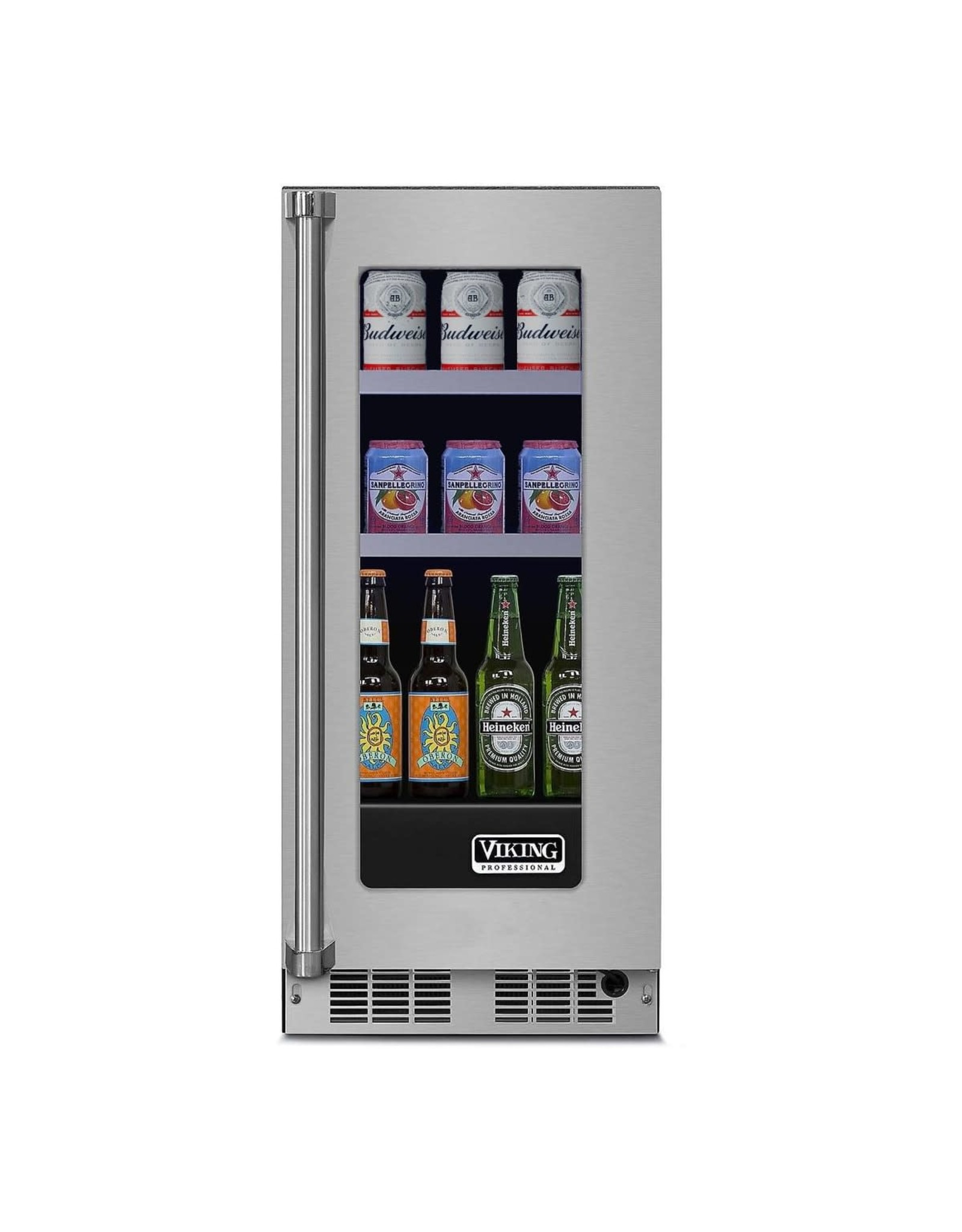 viking VWUI5150GRSS   Viking 15 Inch Wide 35 Can Capacity Energy Star Rated Beverage Center with Right Hinging Door
