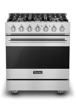 viking RVGR33025BSS 30 Inch Freestanding Gas Range with 5 Sealed Burners, 4 Cu. Ft. Oven Capacity, Continuous Grates, Self-Clean, SureSpark™ Ignition System, TruGlide™ Oven Racks, and ProFlow™ Convection Baffle: Stainless Steel, Natural Gas