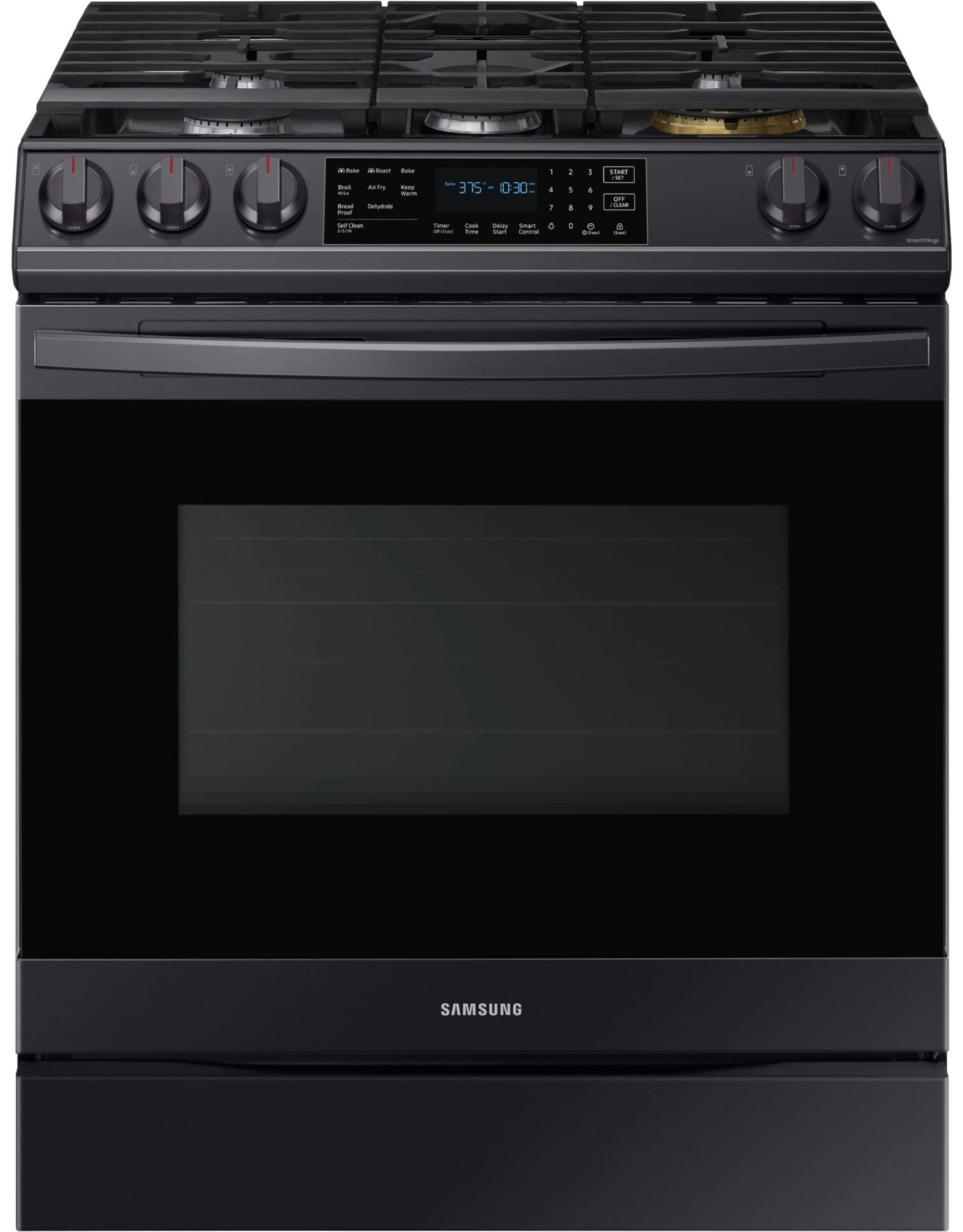 SAMSUNG NX60T8511SG 30 in. 6.0 cu. ft. Slide-In Gas Range with Air Fry and Fan Convection in Fingerprint Resistant Black Stainless Steel