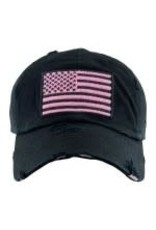 Black Distressed American Flag w/pink