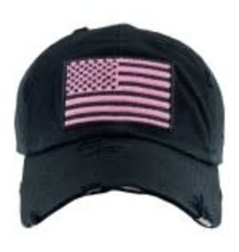 Black Distressed American Flag w/pink